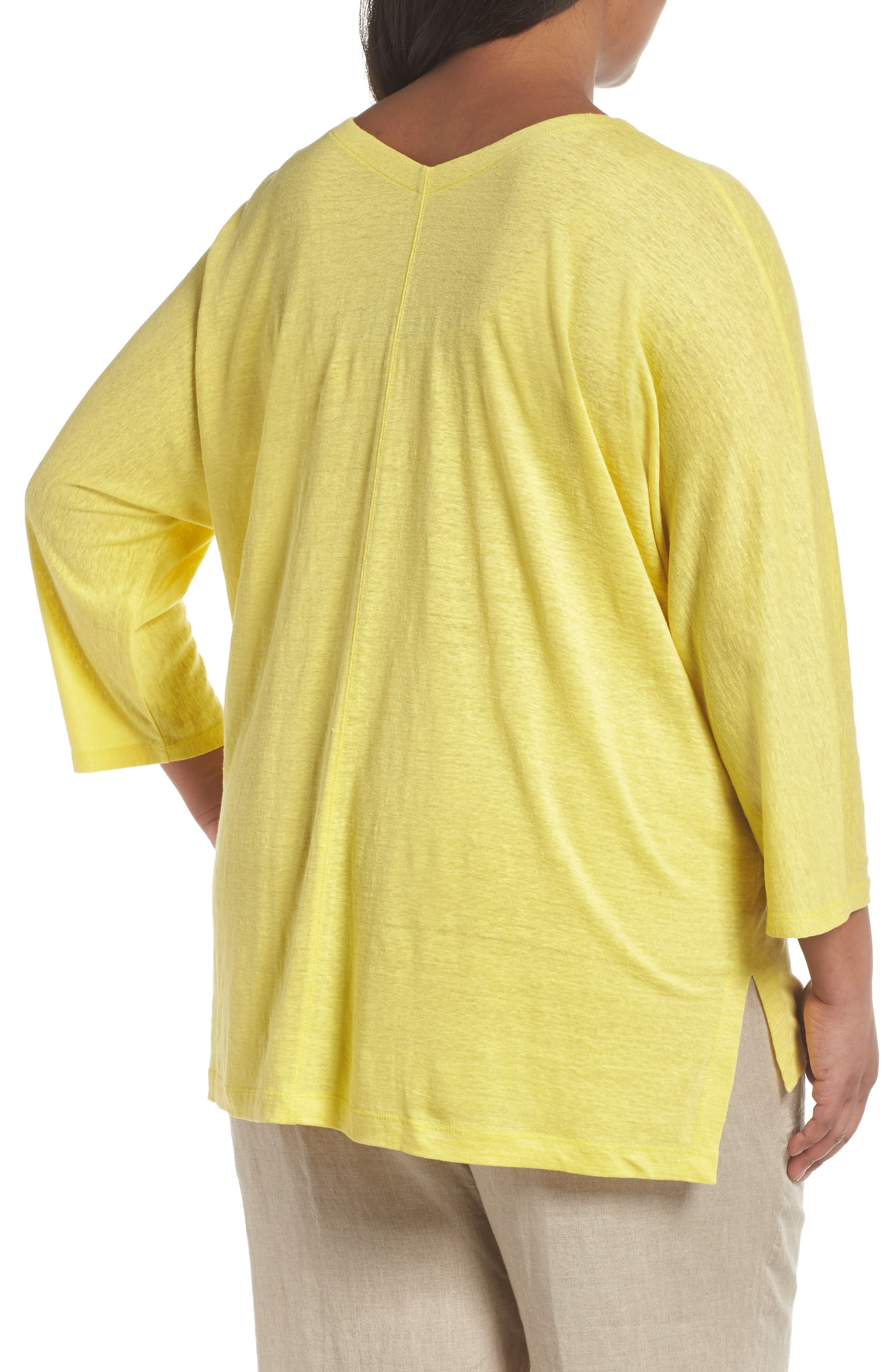 Organic Linen Top,                             Alternate thumbnail 2, color,                             Yarrow