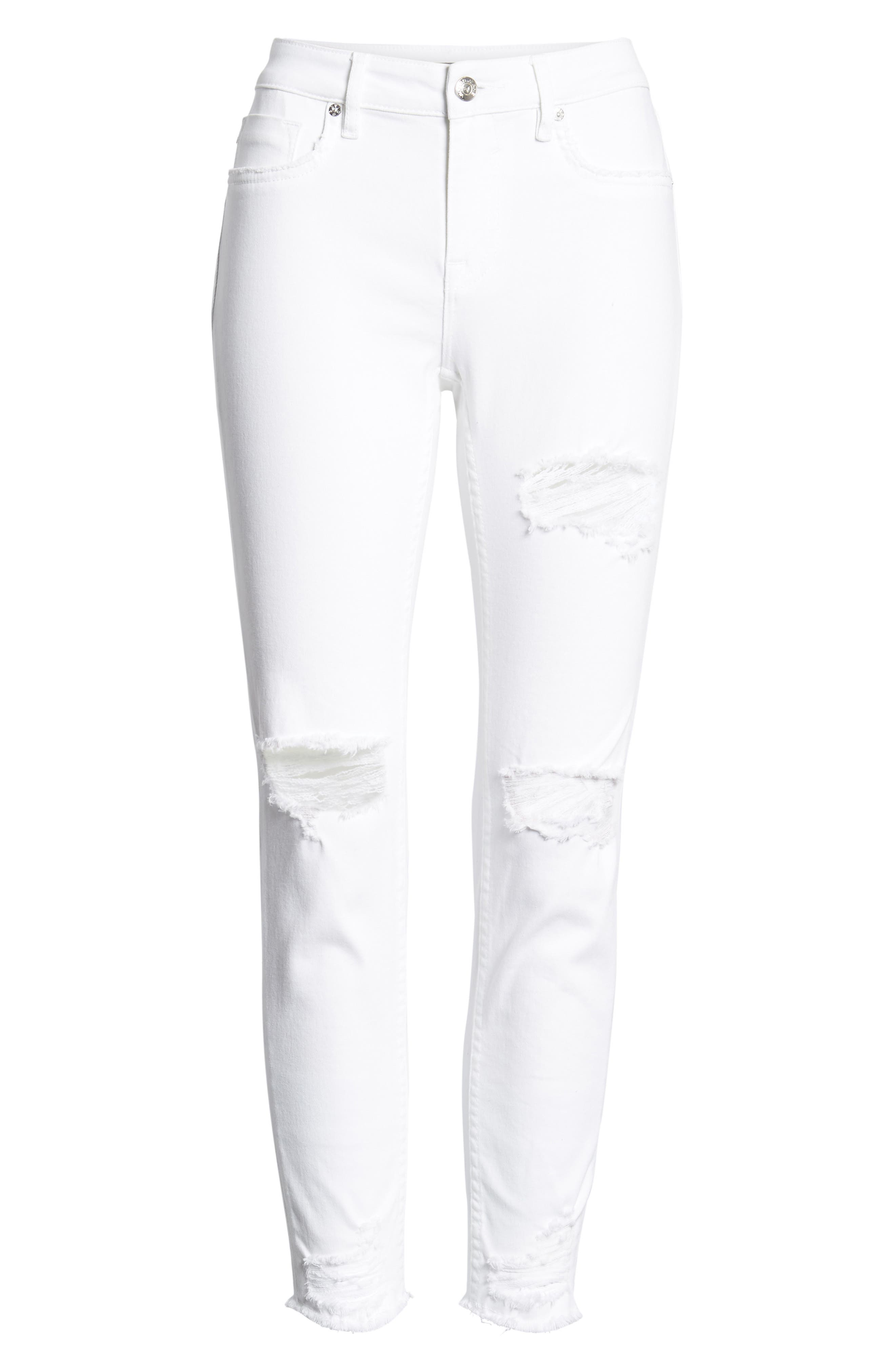 Ripped Skinny Jeans,                             Alternate thumbnail 7, color,                             White