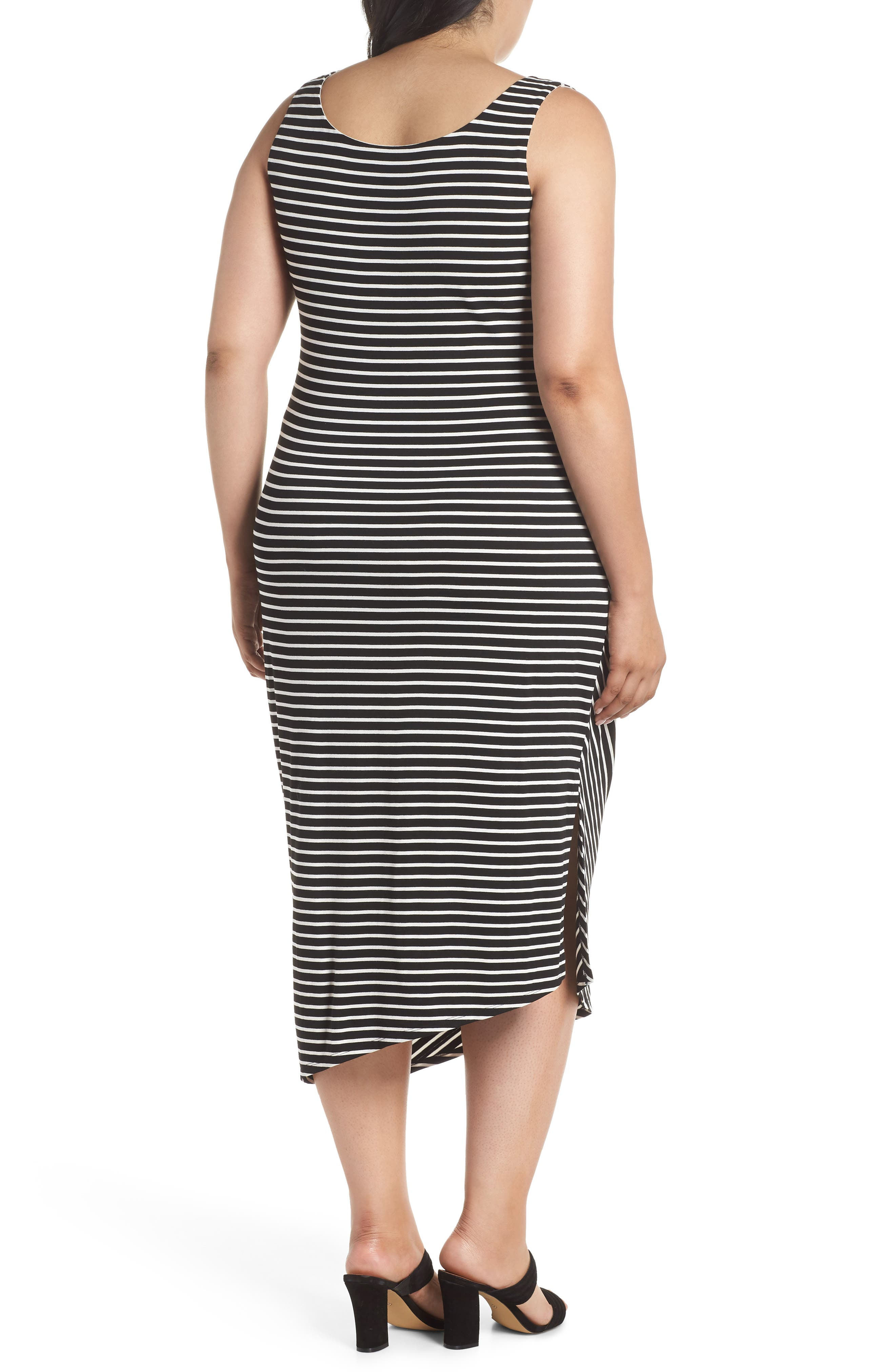 Amalfi Side Ruched Stripe Body-Con Dress,                             Alternate thumbnail 2, color,                             Rich Black