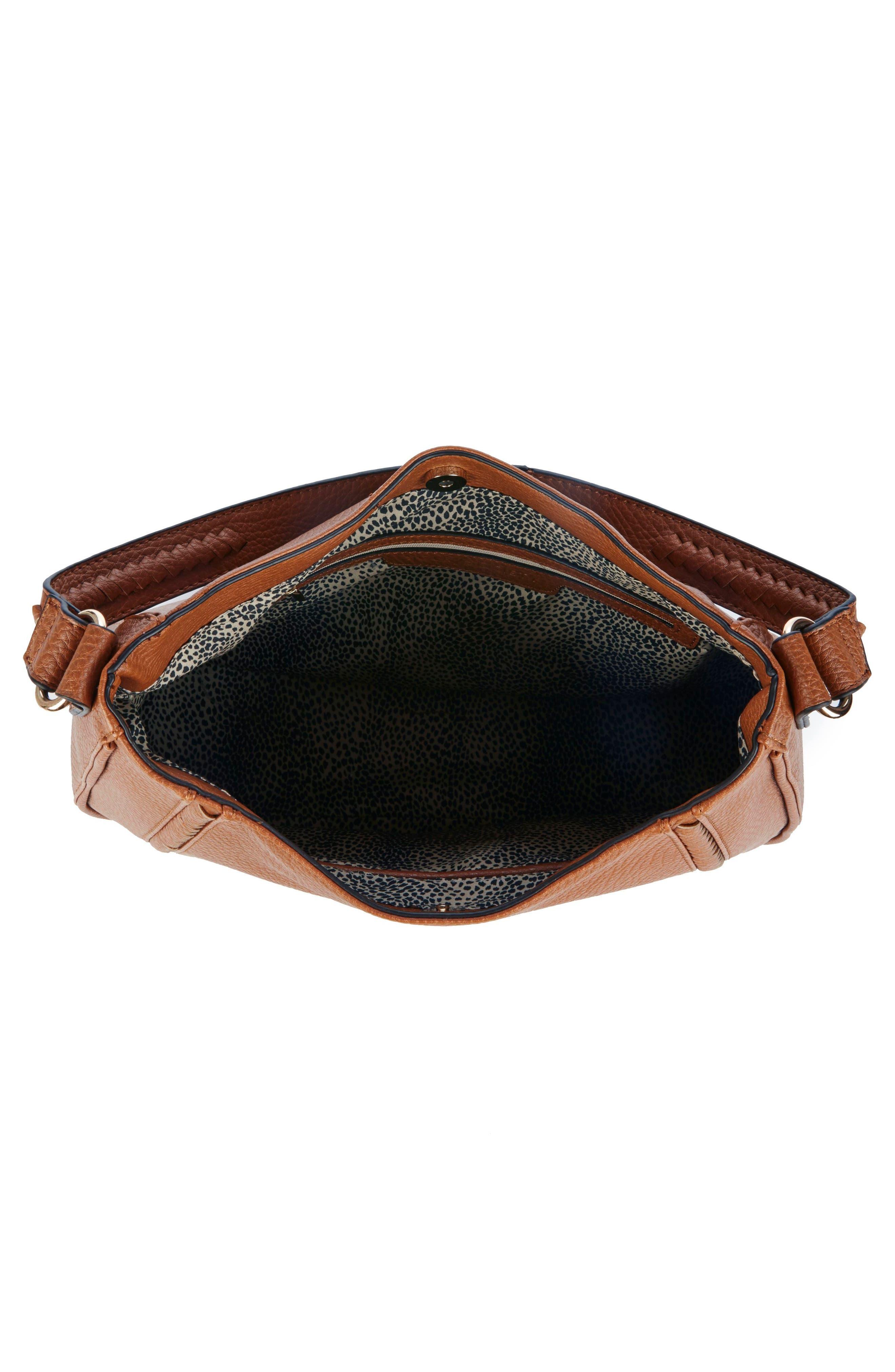 Sarafina Faux Leather Shoulder Bag,                             Alternate thumbnail 3, color,                             Cognac