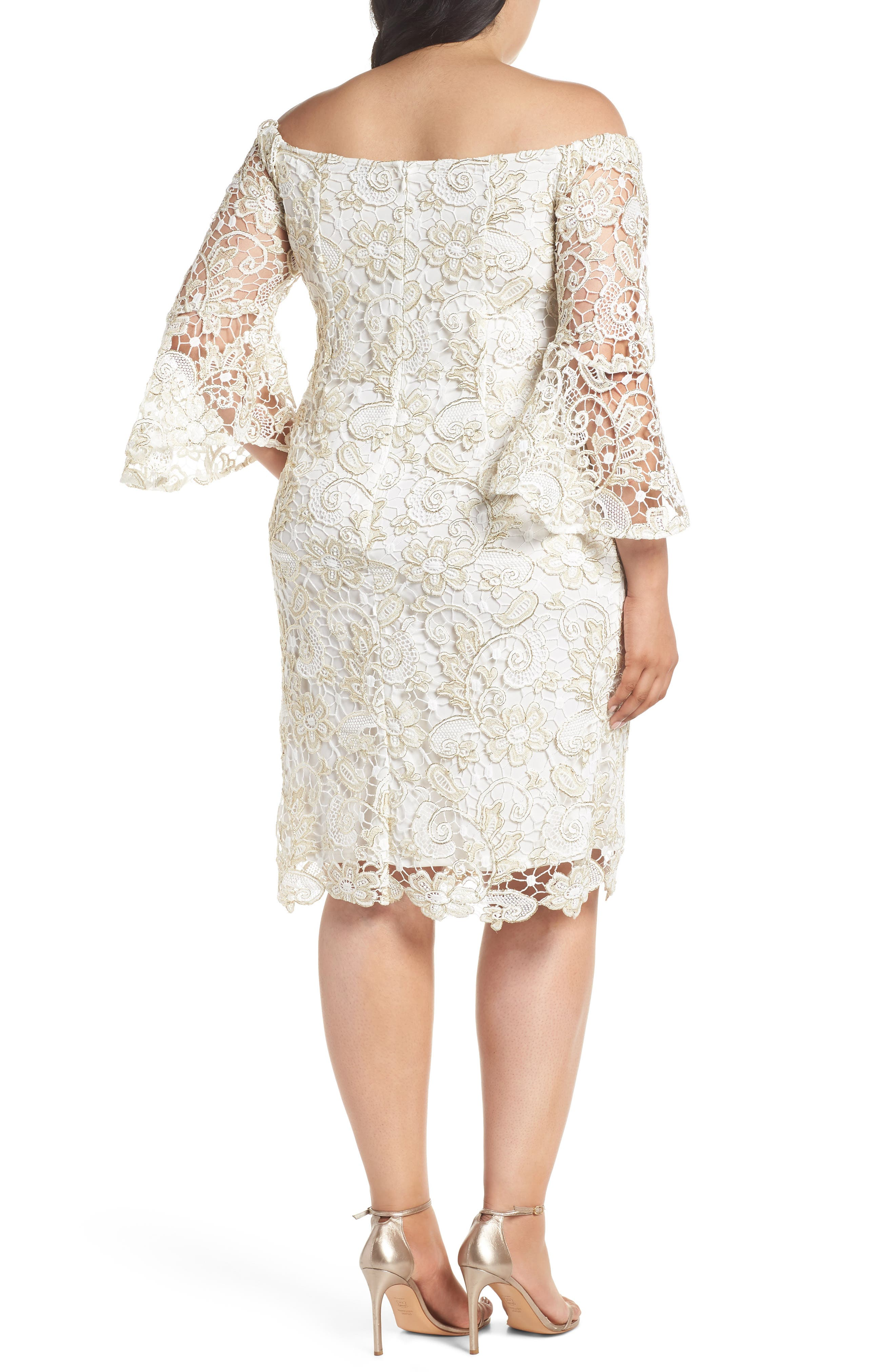 Alternate Image 2  - Marina Lace Off the Shoulder Bell Sleeve Dress (Plus Size)