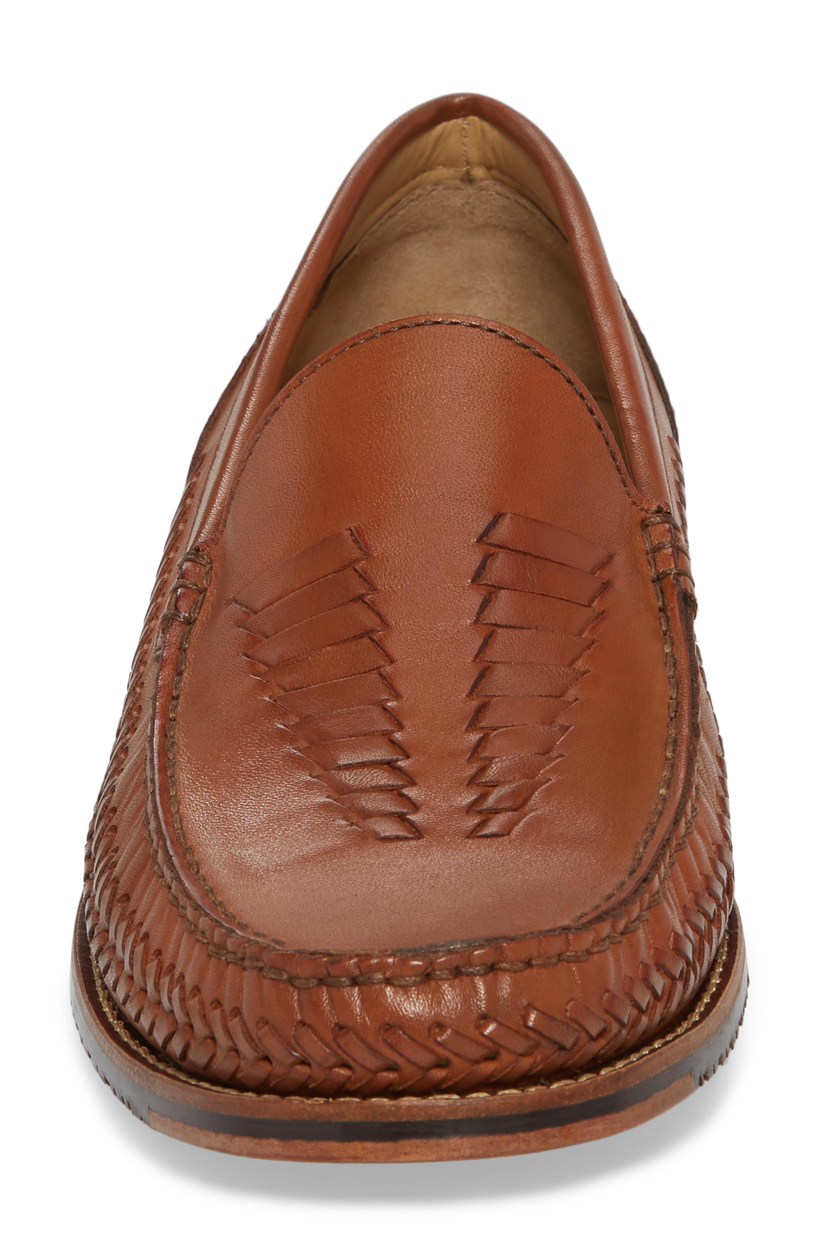 Hasslington Woven Venetian Loafer,                             Alternate thumbnail 4, color,                             Tan Leather