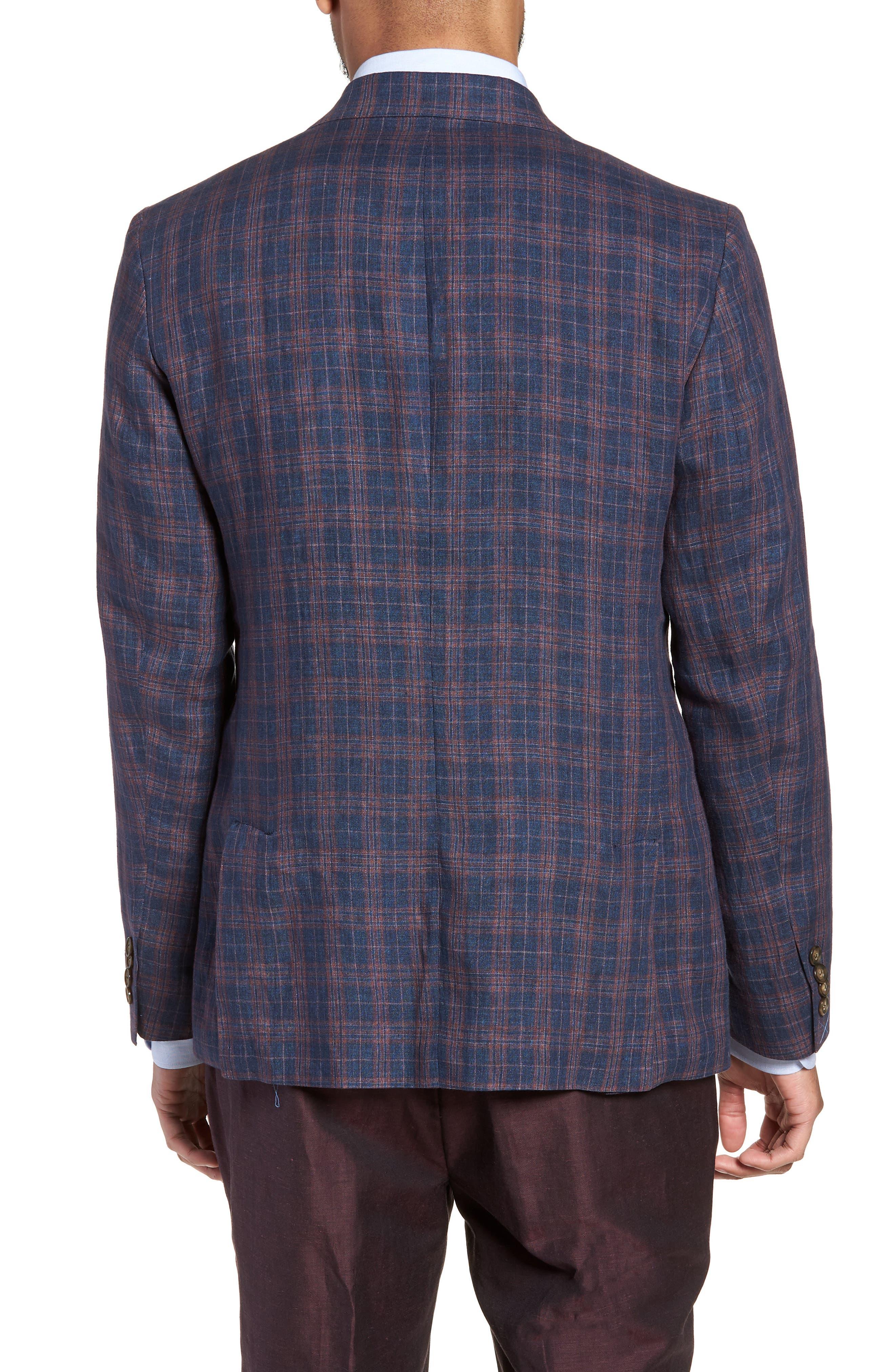 Vanquish Trim Fit Plaid Linen Sport Coat,                             Alternate thumbnail 2, color,                             Navy/ Red