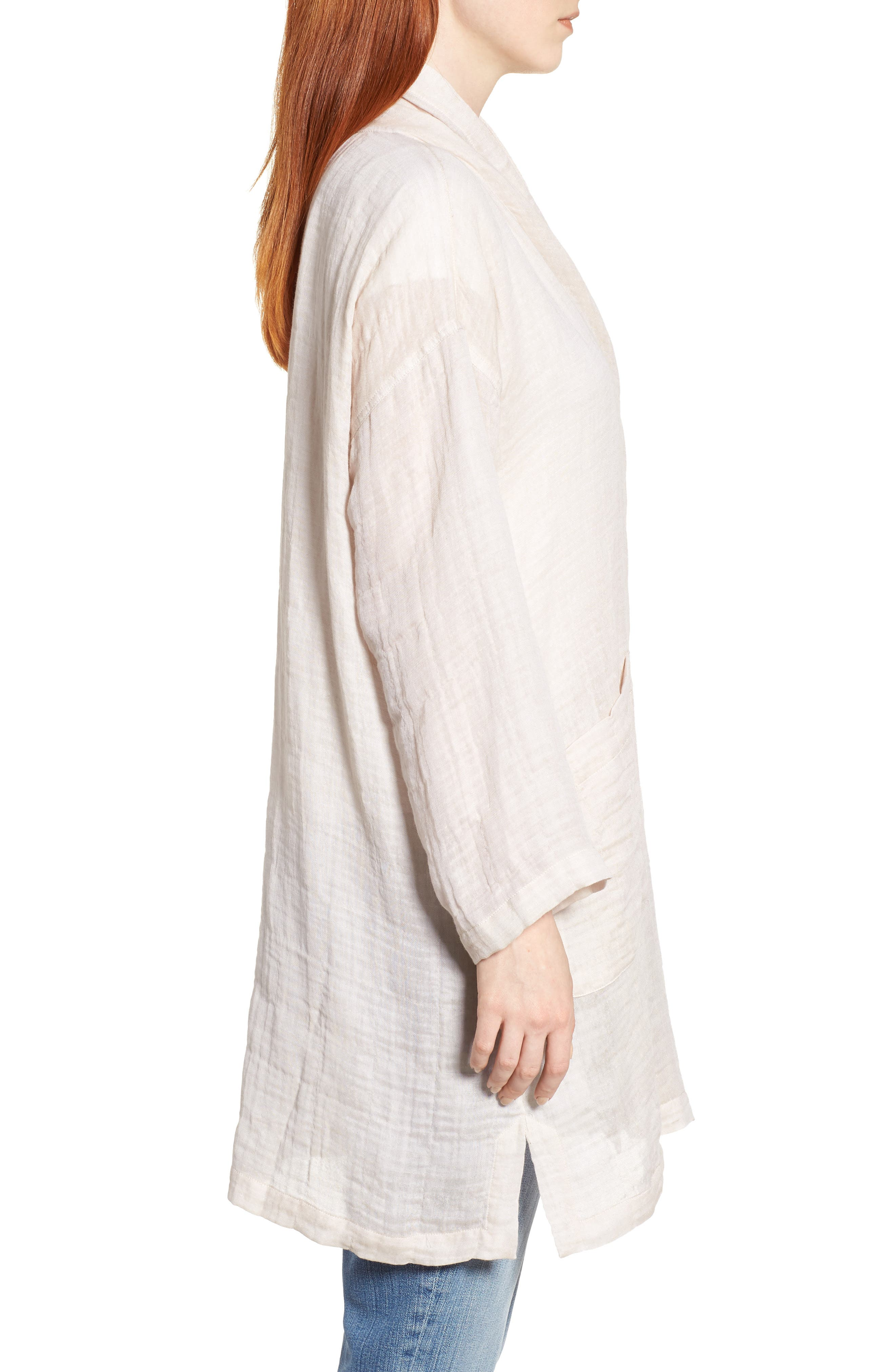 Linen Blend Kimono Jacket,                             Alternate thumbnail 3, color,                             Natural