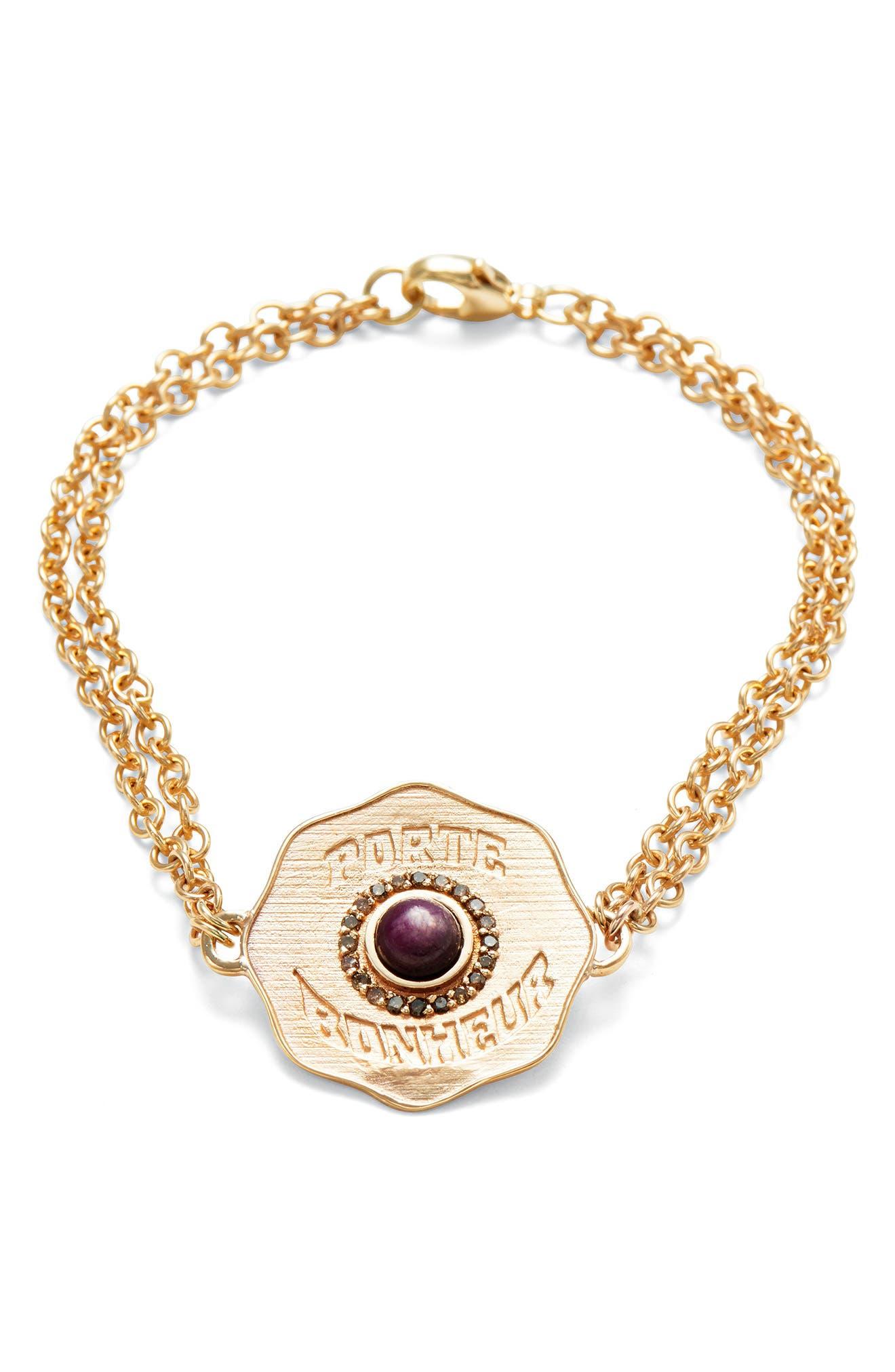 Porte Bonheur Coin Bracelet,                         Main,                         color, Yellow Gold