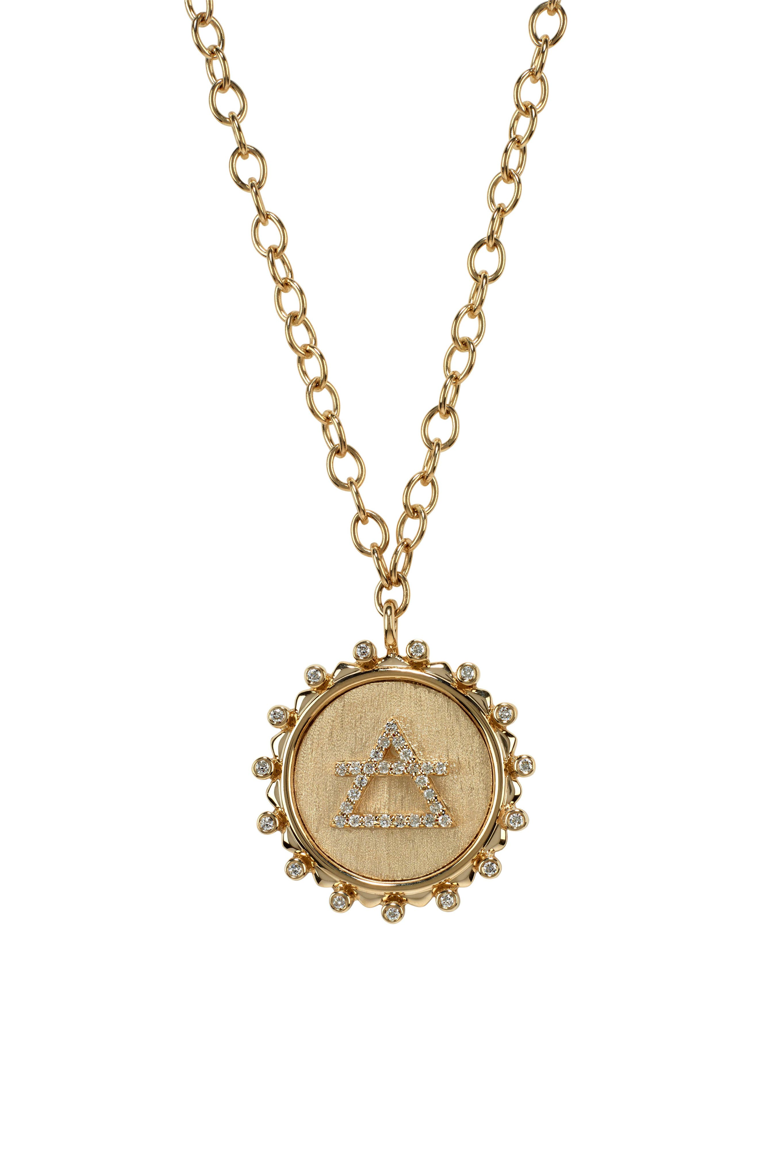 MARLO LAZ In The Air Element Pendant Necklace in Yellow Gold