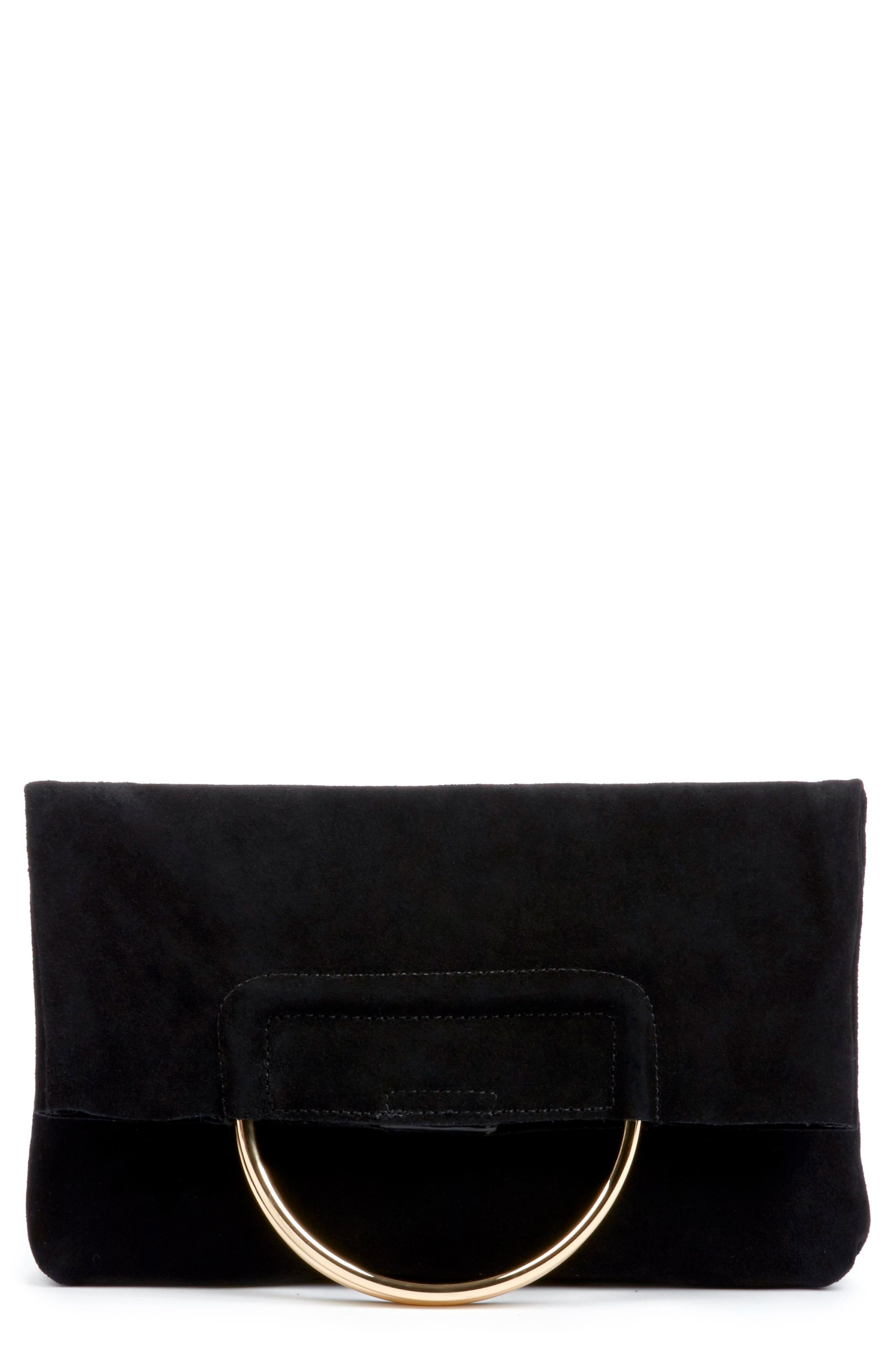 Suede Foldover Clutch,                             Main thumbnail 1, color,                             Black