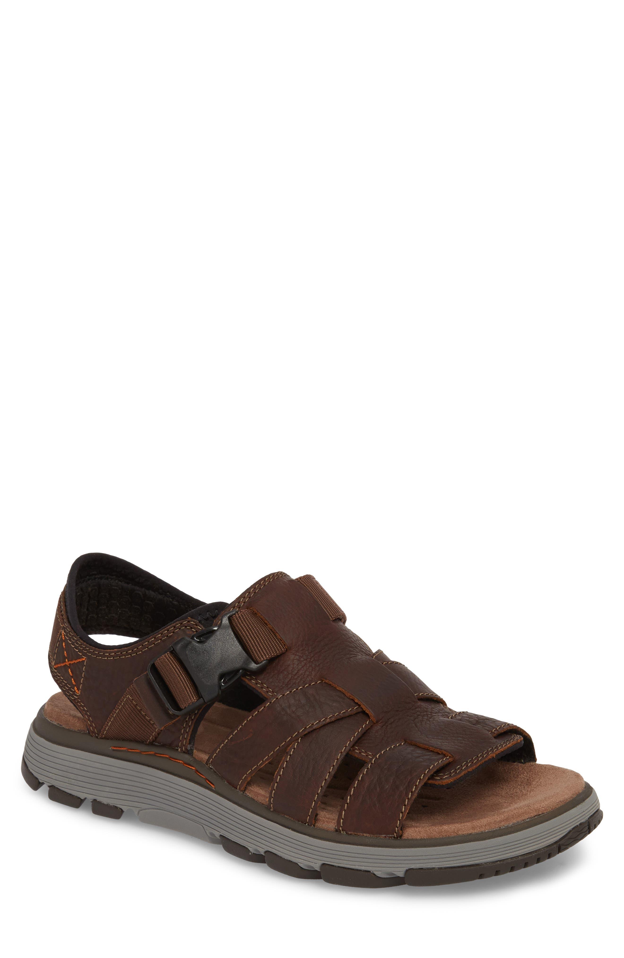 Clarks<sup>®</sup> Untrek Cove Fisherman Sandal,                             Main thumbnail 1, color,                             Dark Tan Leather