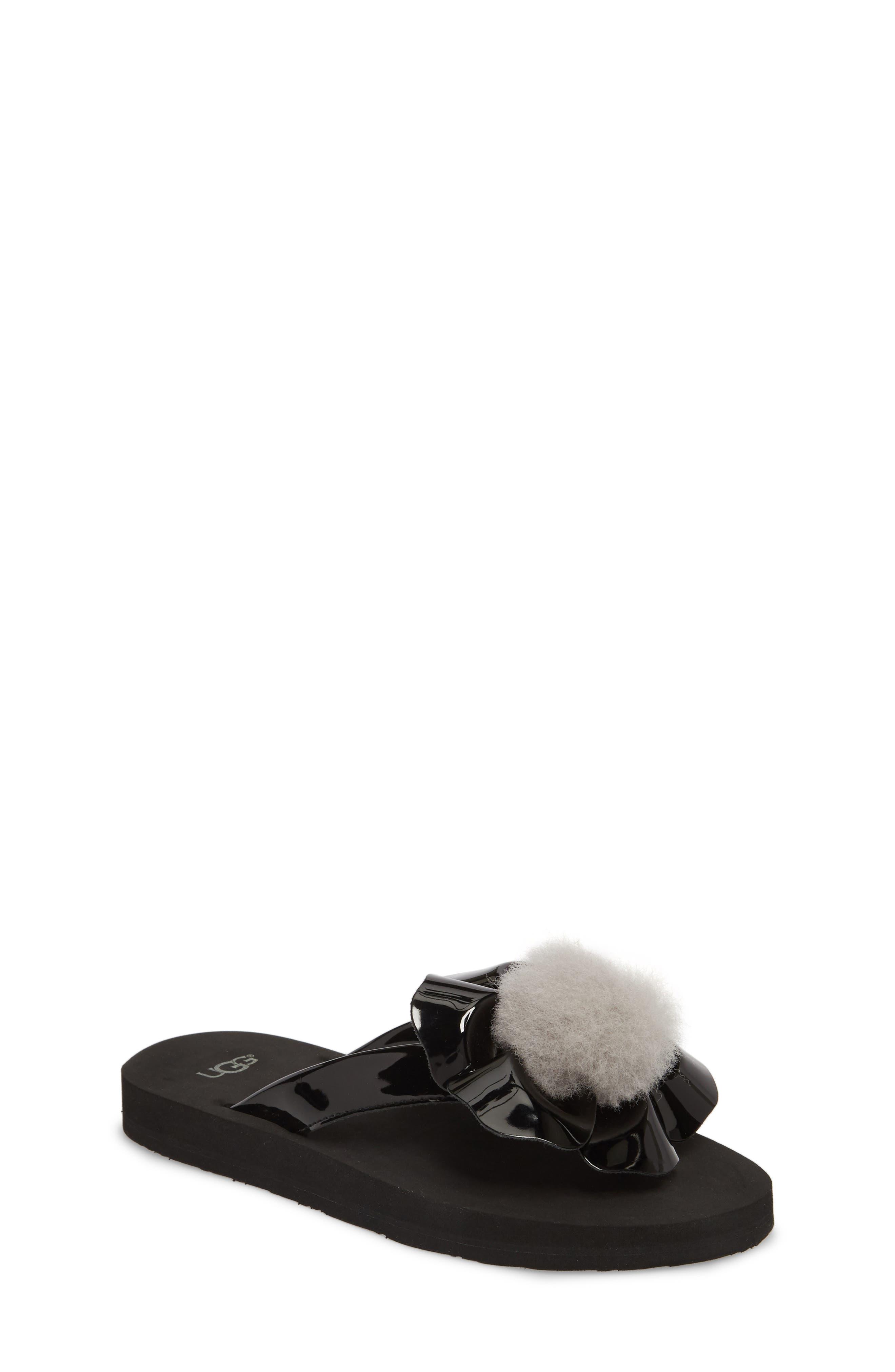 Poppy Genuine Shearling Flip Flop,                         Main,                         color, Black
