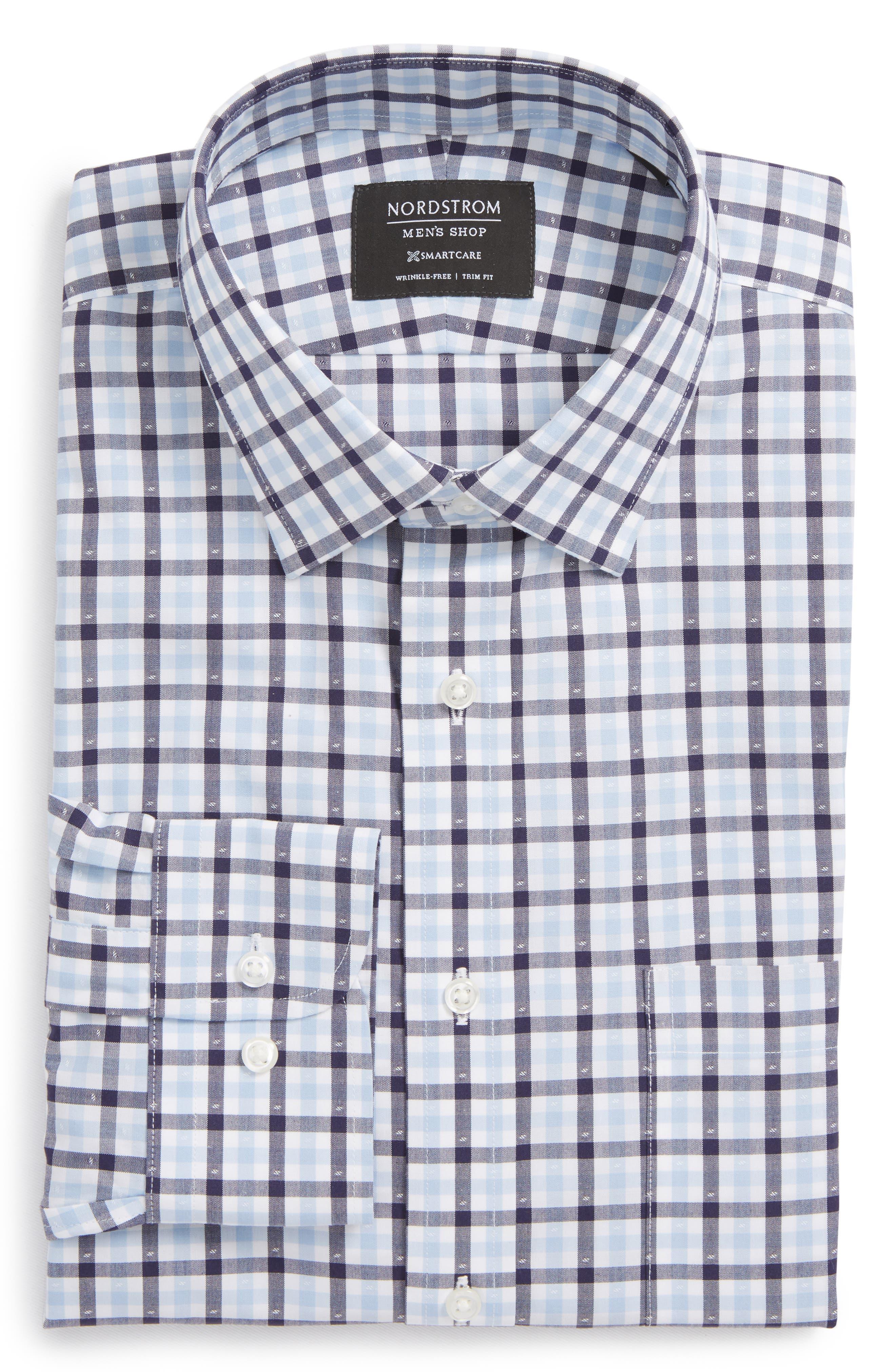 Smartcare<sup>™</sup> Trim Fit Check Dress Shirt,                             Main thumbnail 1, color,                             Navy Eclipse