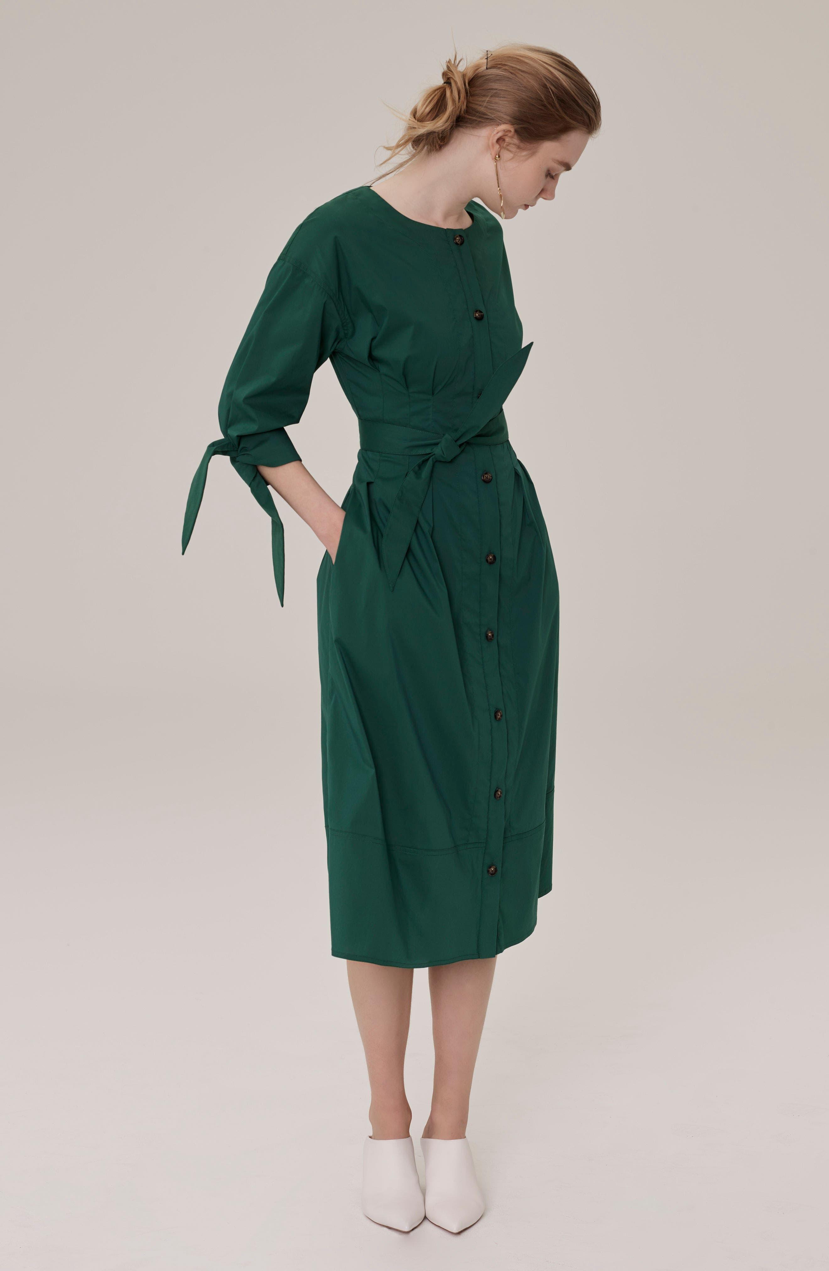 Cotton Blend Tie Dress,                             Alternate thumbnail 2, color,                             Emerald