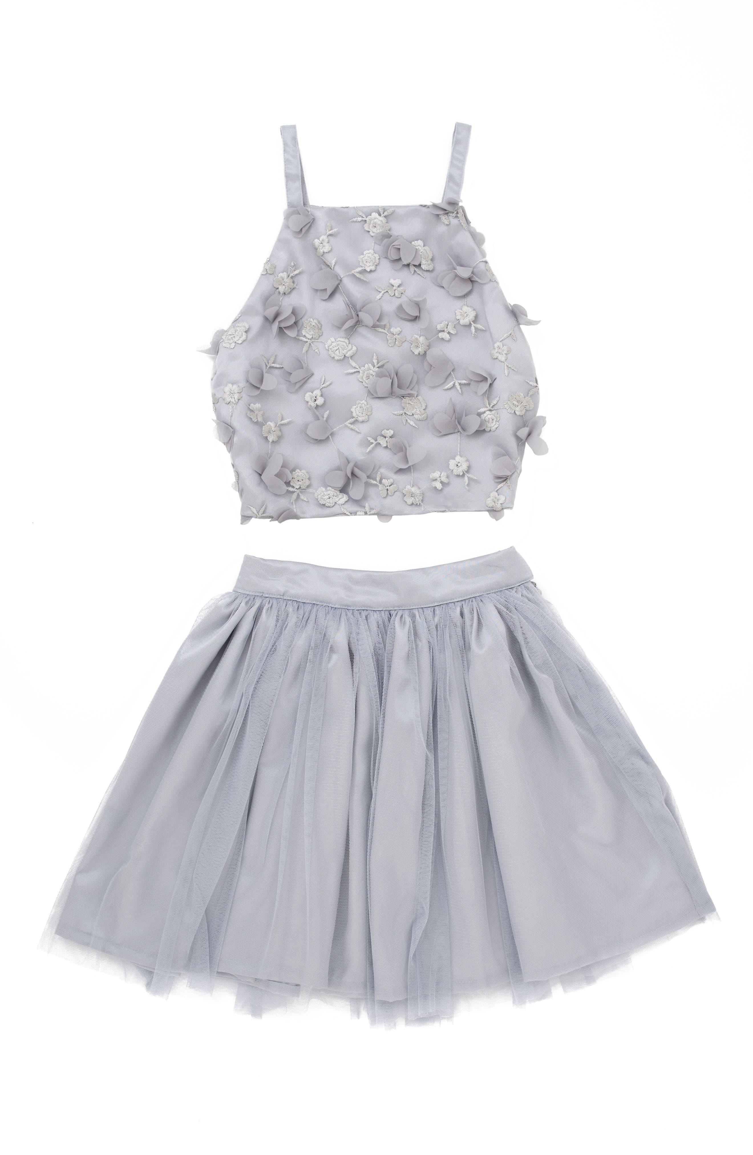 Stella M'Lia 3D Tulle Two-Piece Dress,                             Main thumbnail 1, color,                             Silver