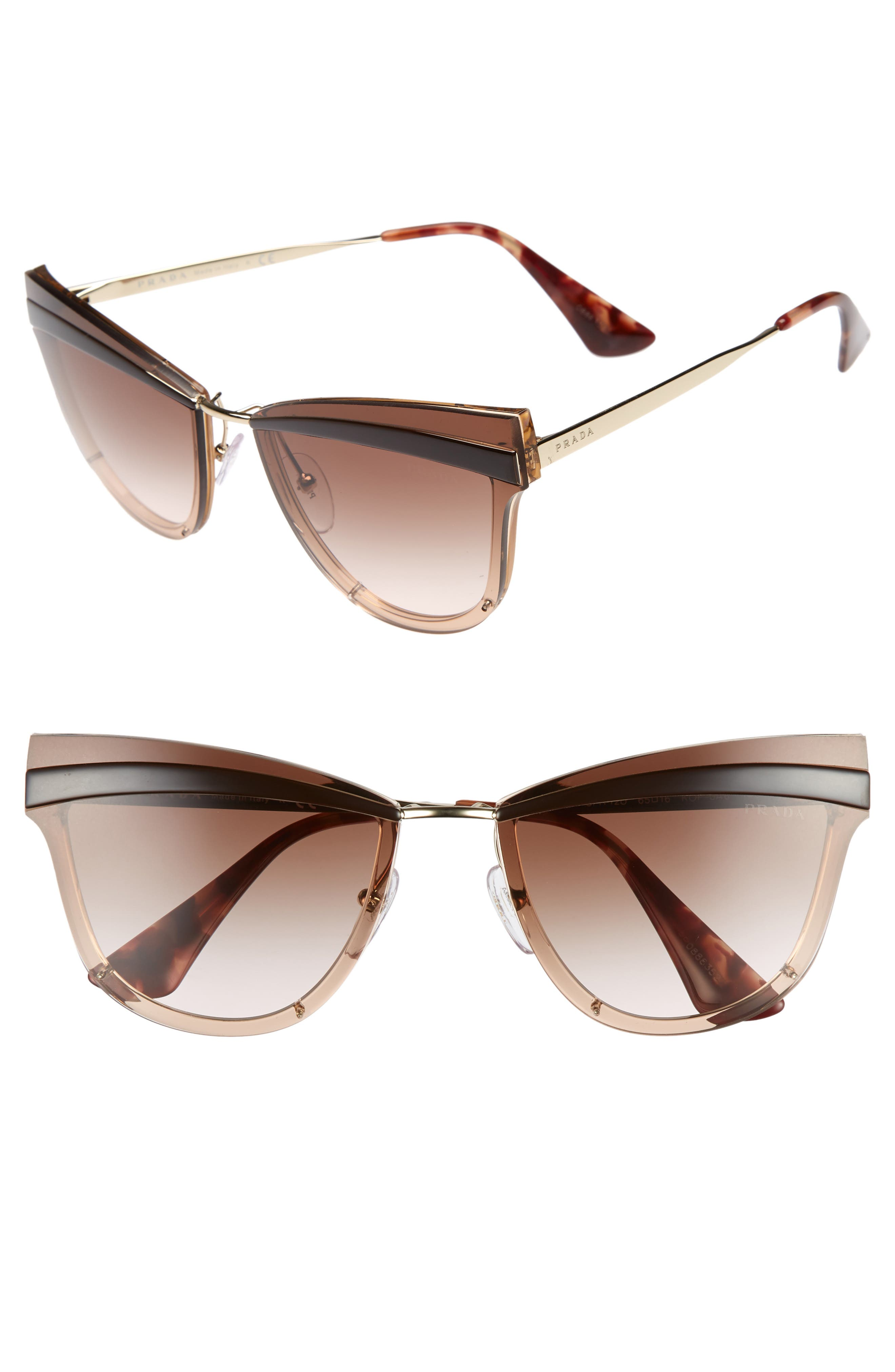 Cinma Evolution 65mm Cat Eye Sunglasses,                         Main,                         color, Pink/ Brown Gradient