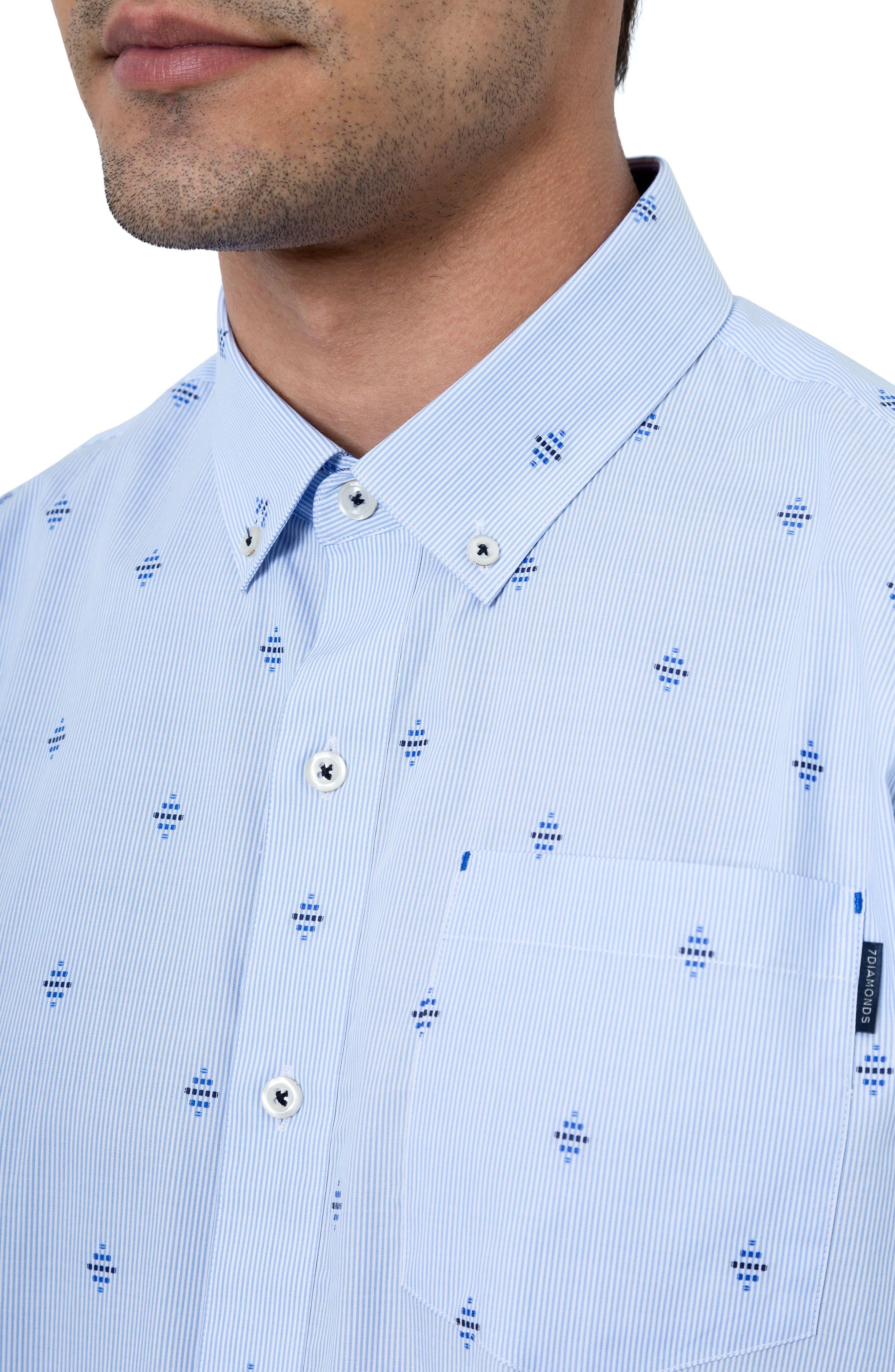 Summer Sky Stripe Dobby Diamond Sport Shirt,                             Alternate thumbnail 4, color,                             Blue