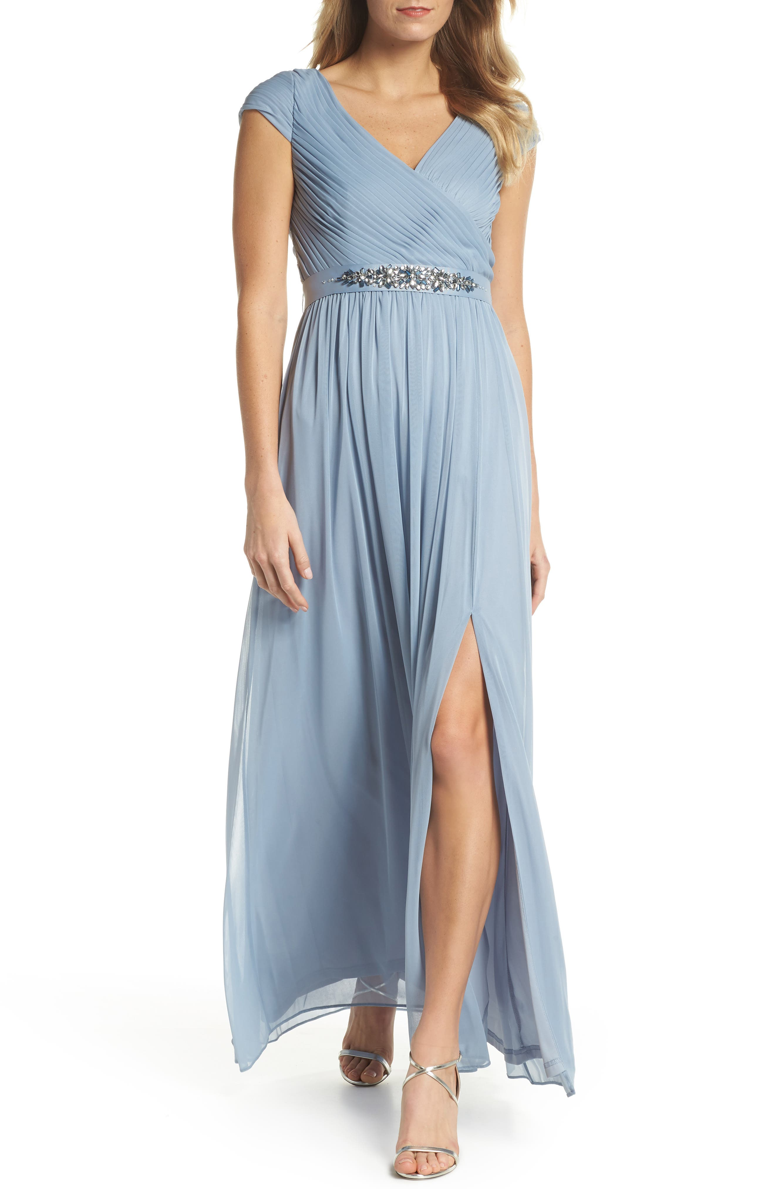 Shirred Chiffon Gown,                             Main thumbnail 1, color,                             Dusty Periwinkle