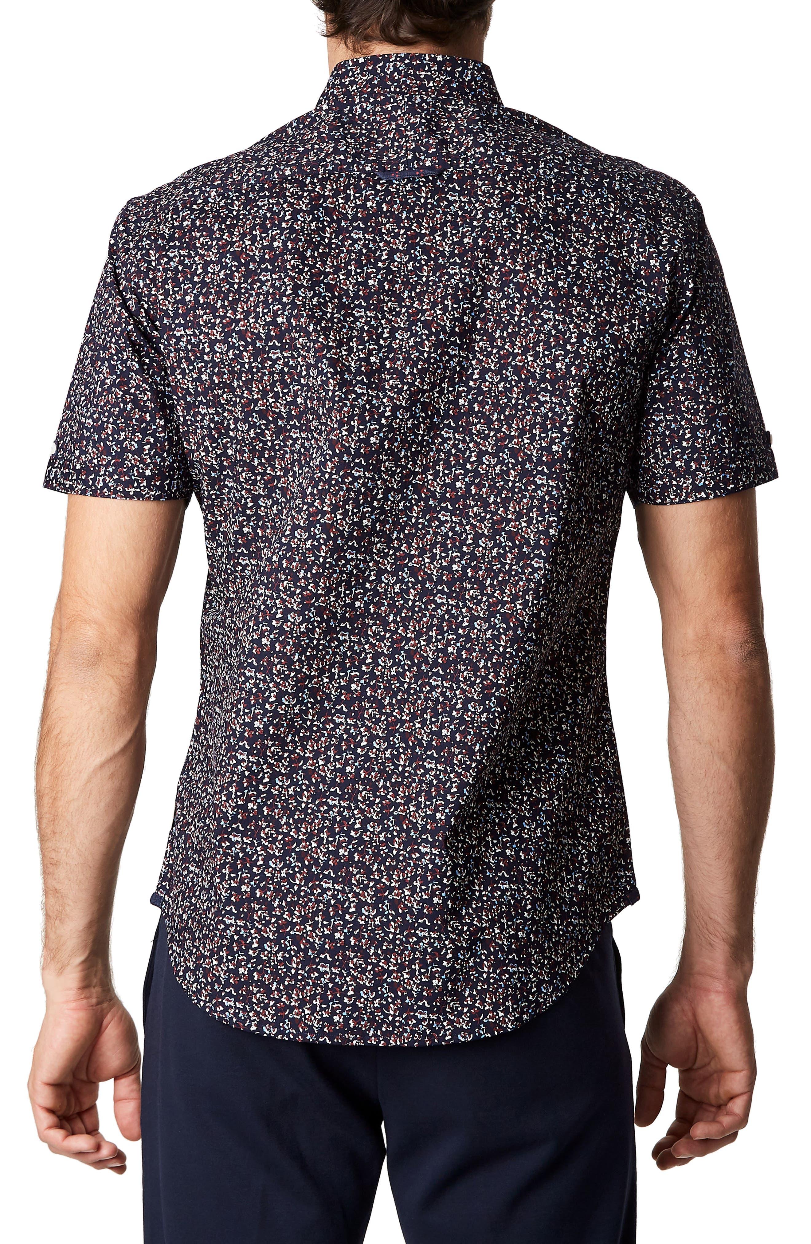 Dark Star Floral Print Sport Shirt,                             Alternate thumbnail 2, color,                             Navy