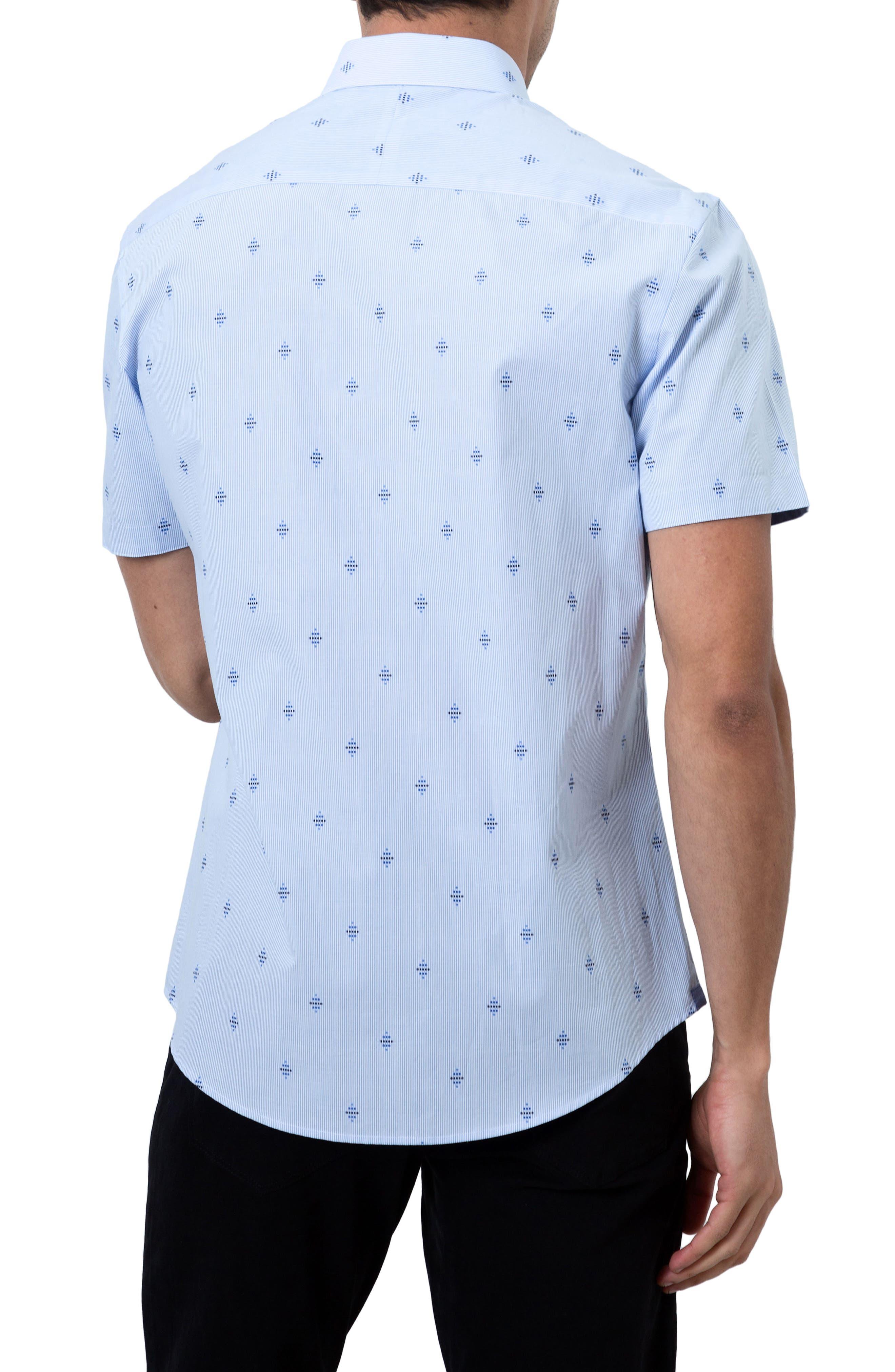 Summer Sky Stripe Dobby Diamond Sport Shirt,                             Alternate thumbnail 2, color,                             Blue