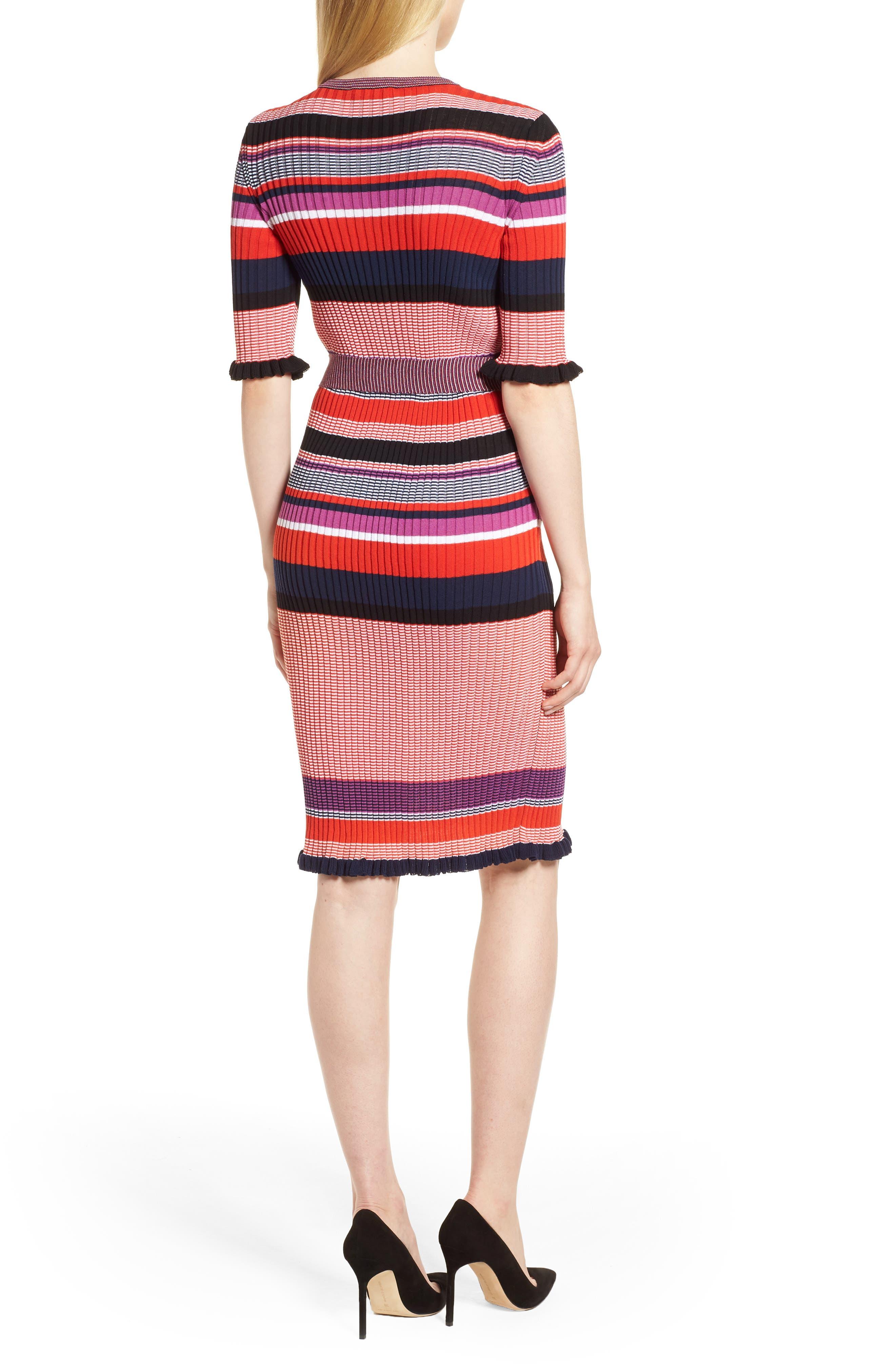 Fantonia Stripe Knit Sheath Dress,                             Alternate thumbnail 2, color,                             Black Fantasy