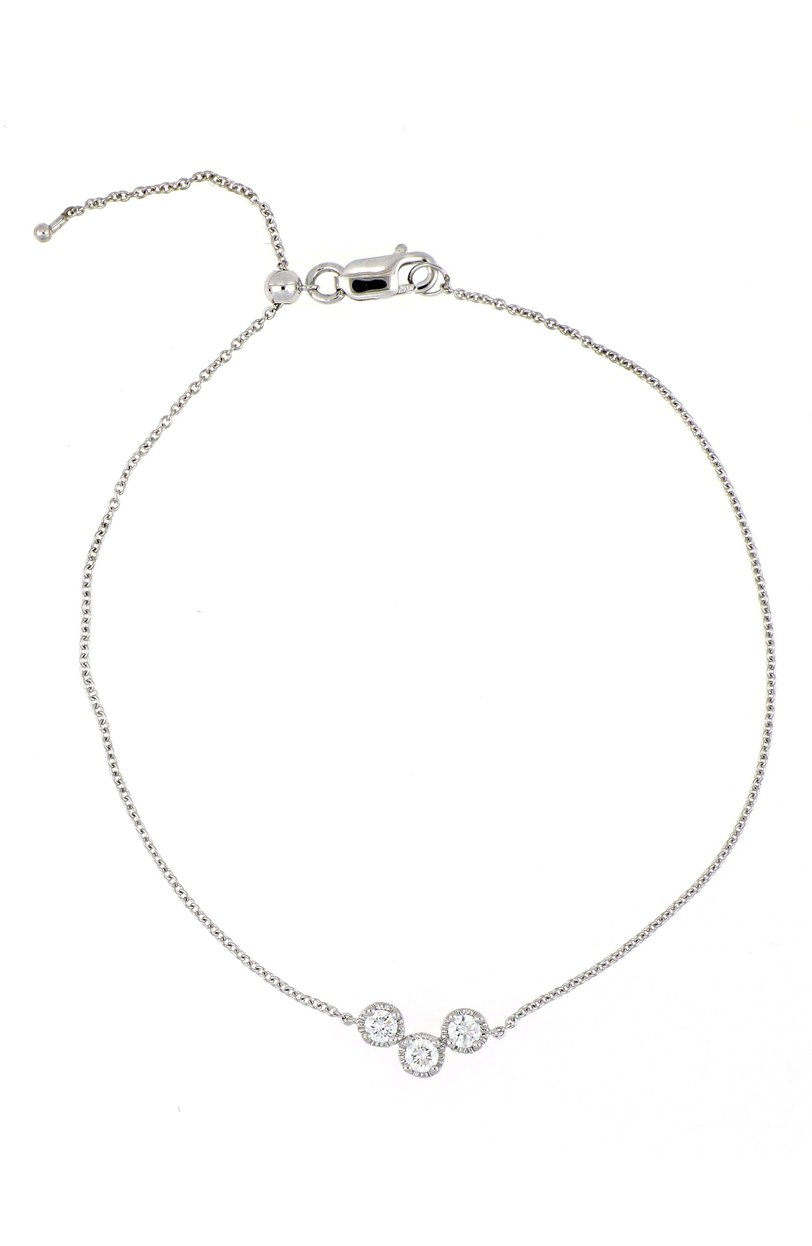 Mila Three-Station Line Bracelet,                             Main thumbnail 1, color,                             White Gold