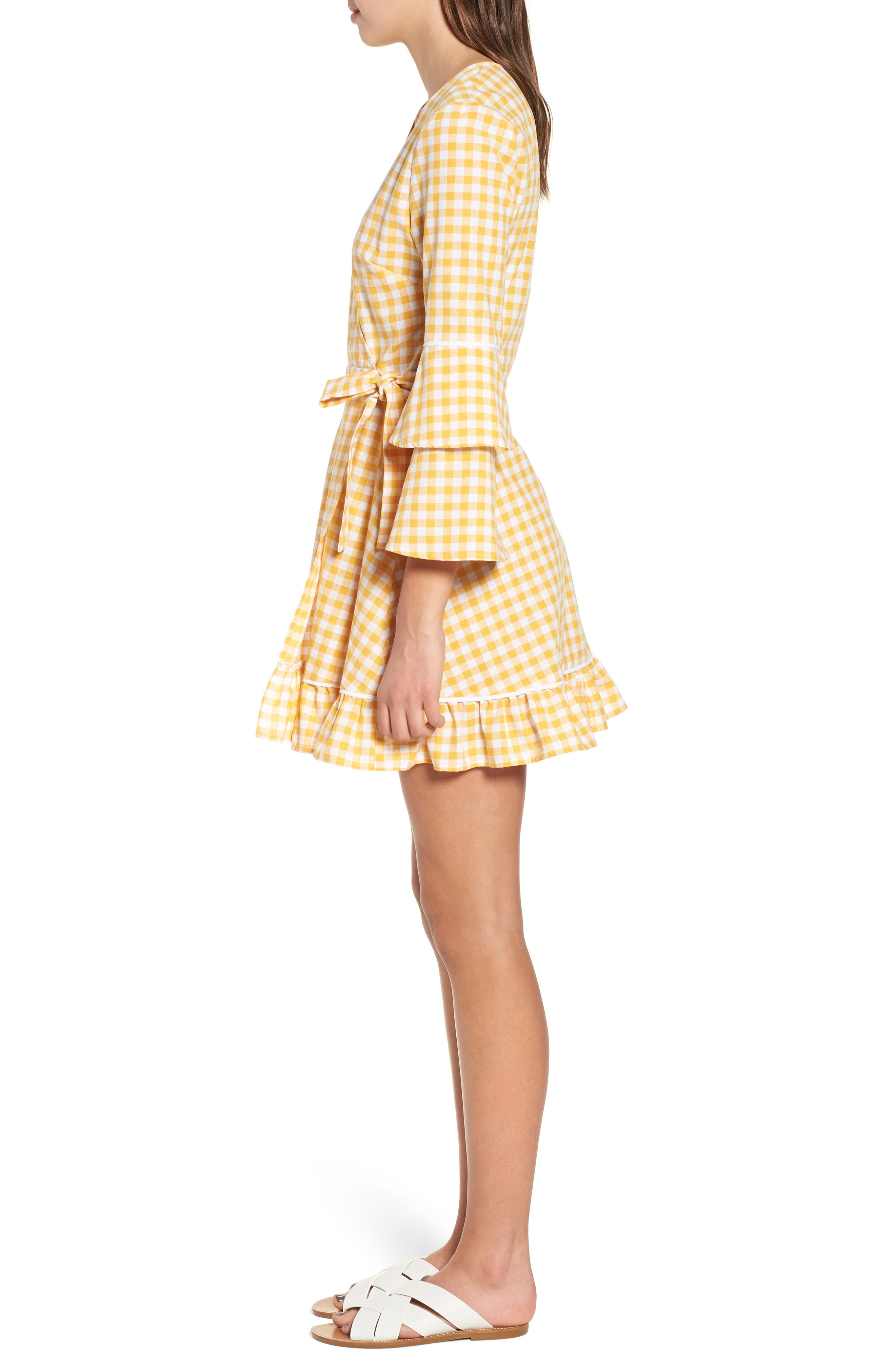 Idyllic Gingham Ruffle Dress,                             Alternate thumbnail 3, color,                             Buttercup