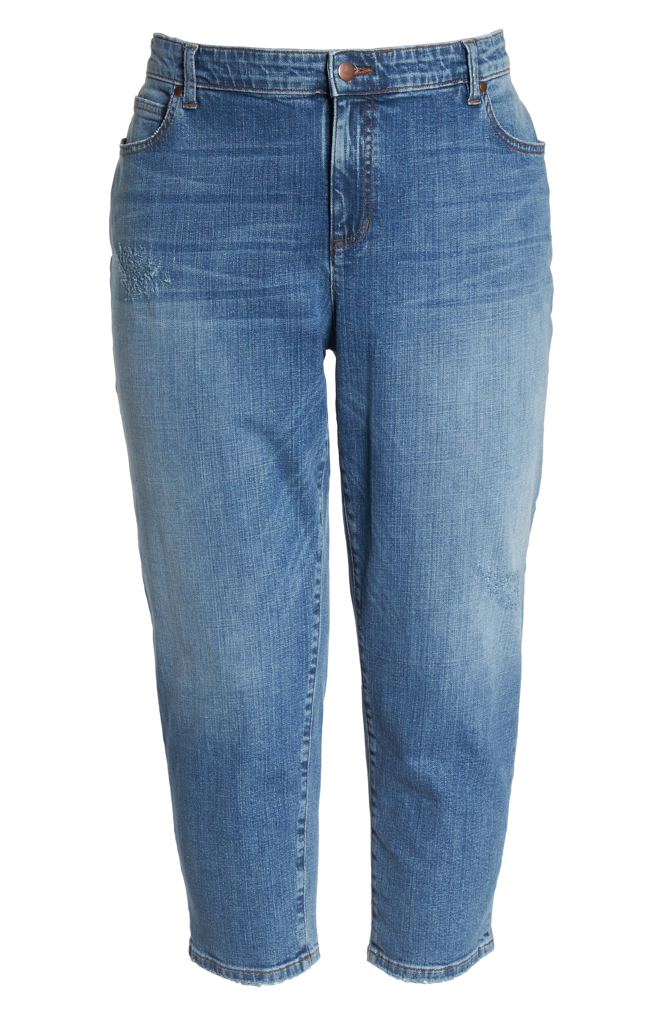 Tapered Crop Jeans,                             Alternate thumbnail 7, color,                             Abraded Sky Blue