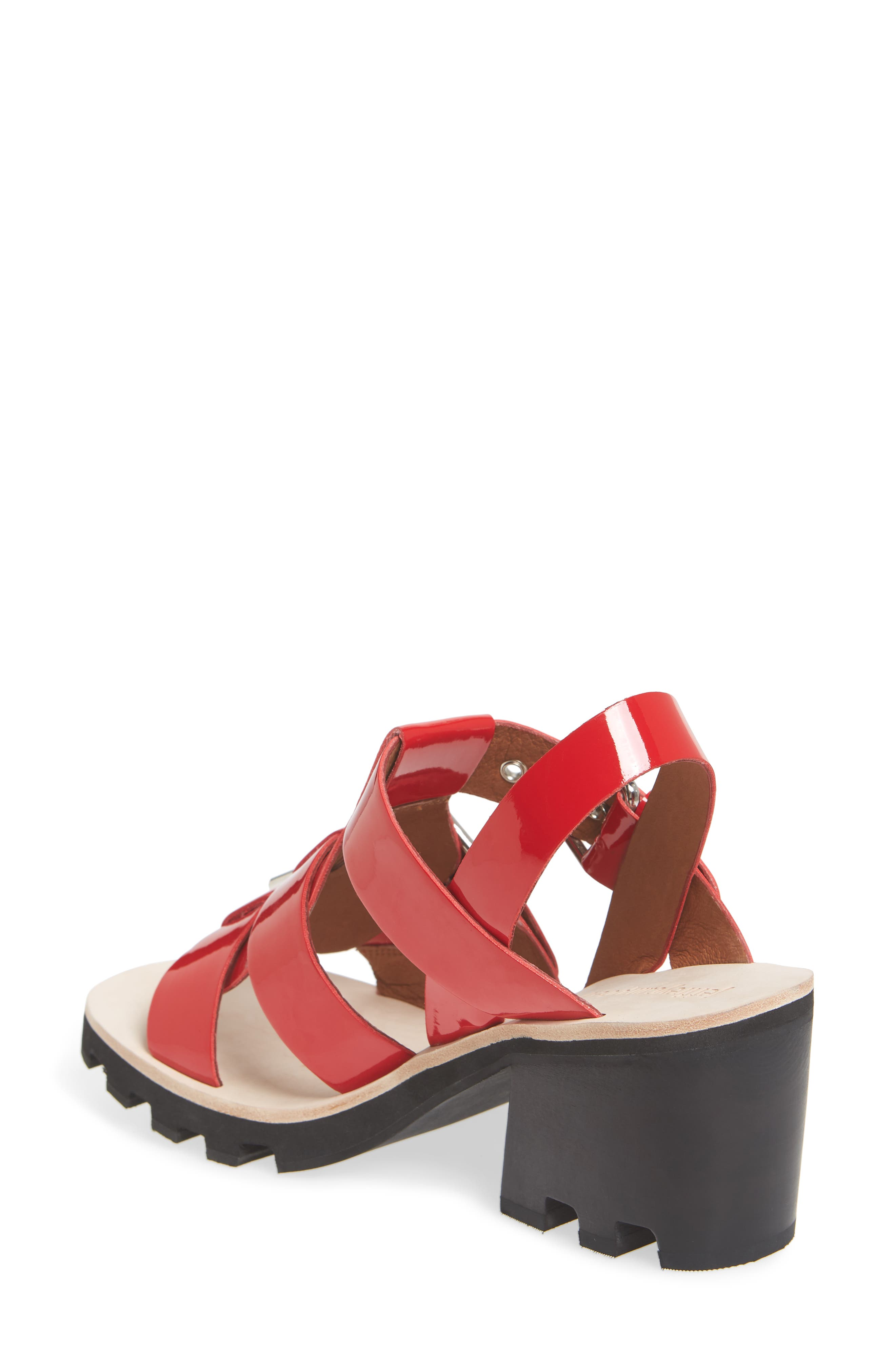 Riveter Lugged Buckle Sandal,                             Alternate thumbnail 2, color,                             Red Patent