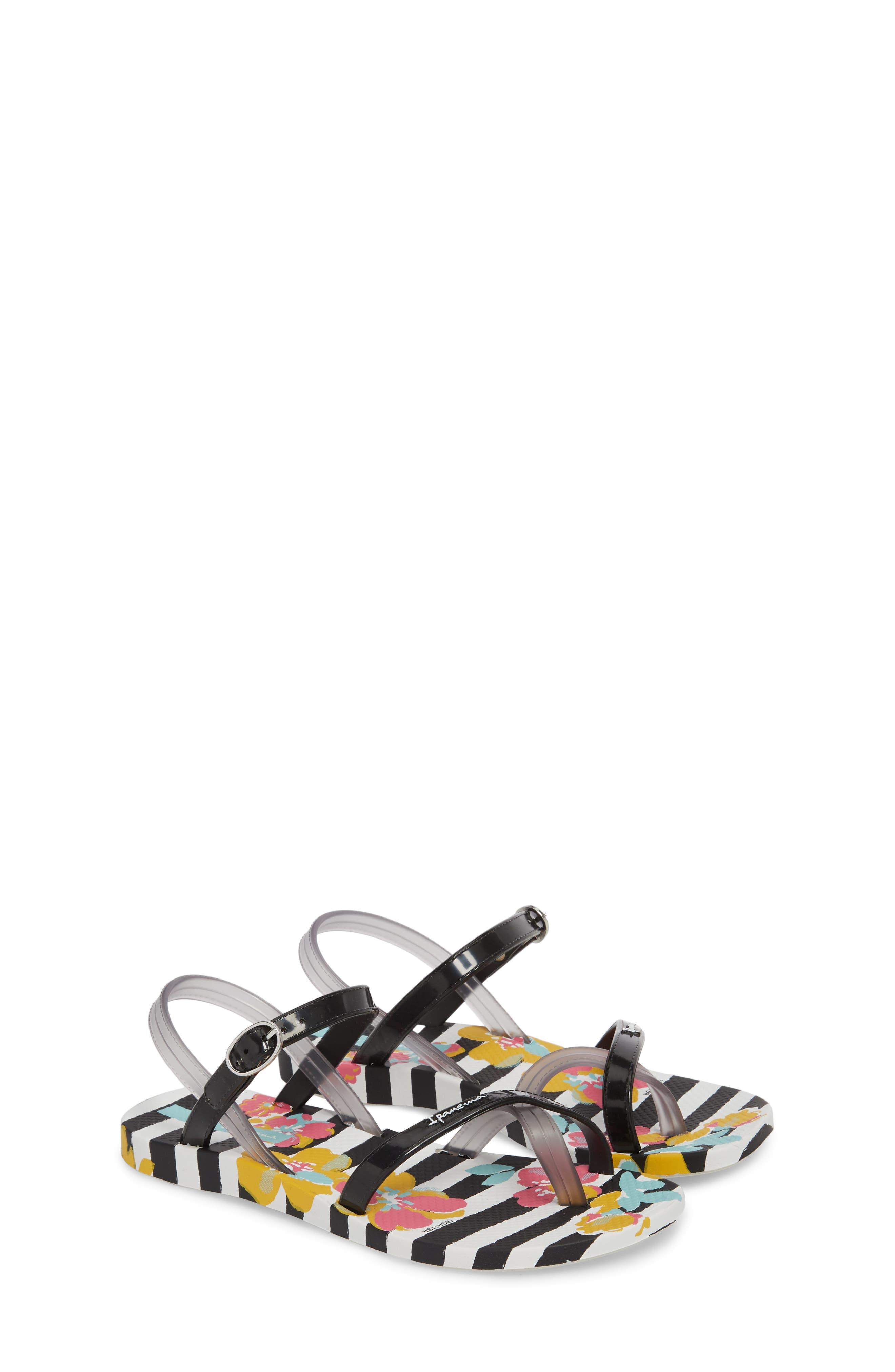 Toe Loop Sandal,                             Alternate thumbnail 3, color,                             White/ Black