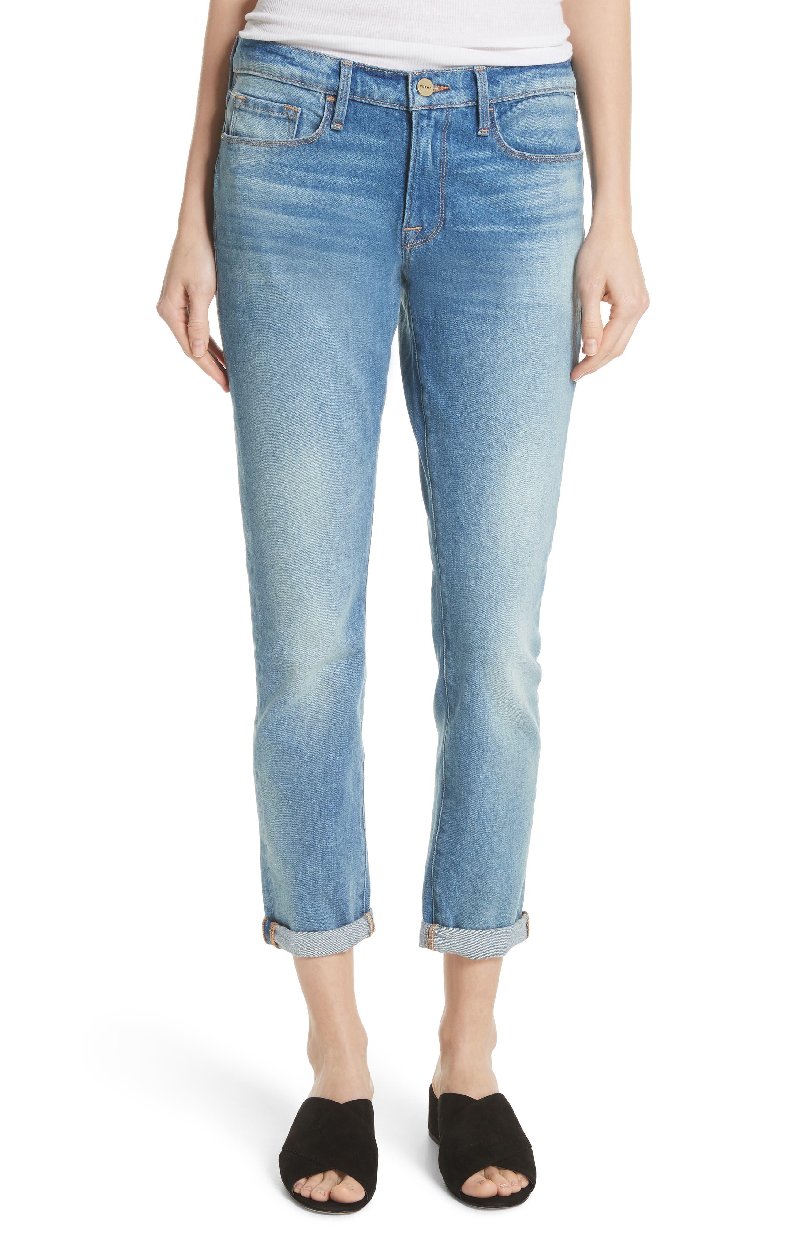 Le Garcon Crop Slim Boyfriend Jeans,                             Main thumbnail 1, color,                             Silva