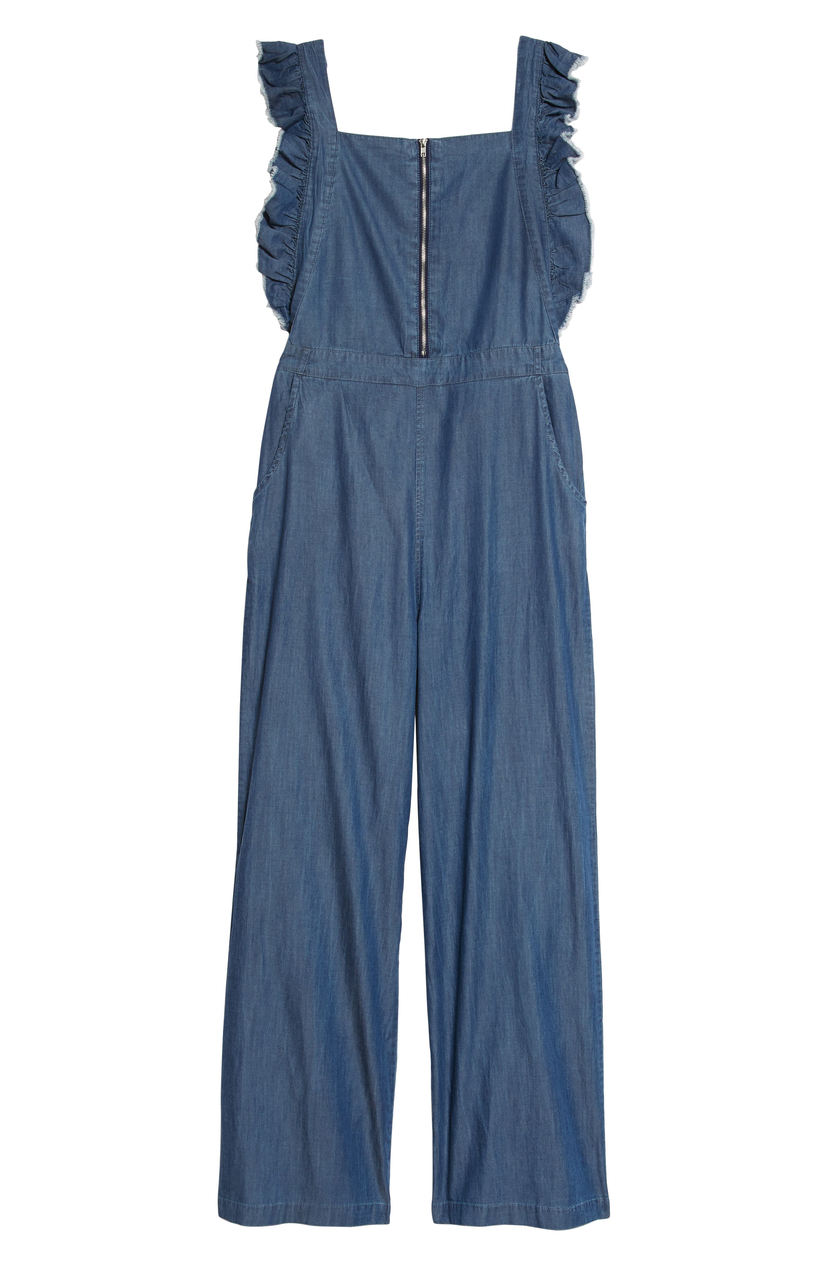 Ruffle Sleeve Denim Jumpsuit,                             Main thumbnail 1, color,                             Denim