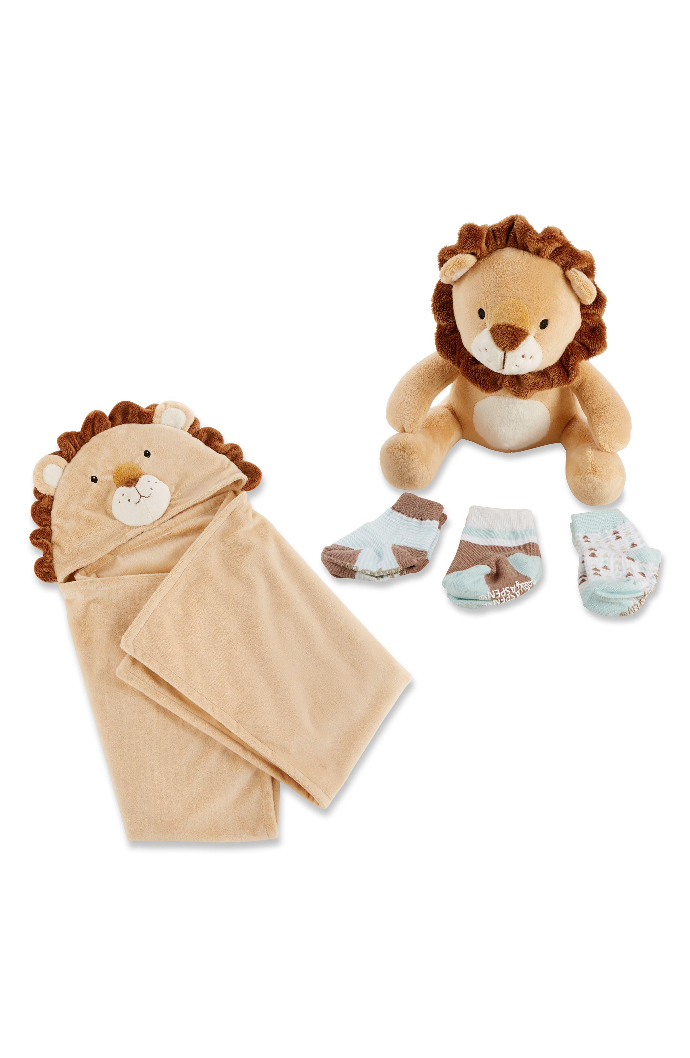 Lion Safari Hooded Blanket, 3-Pack Socks & Stuffed Animal Set,                             Main thumbnail 1, color,                             Brown
