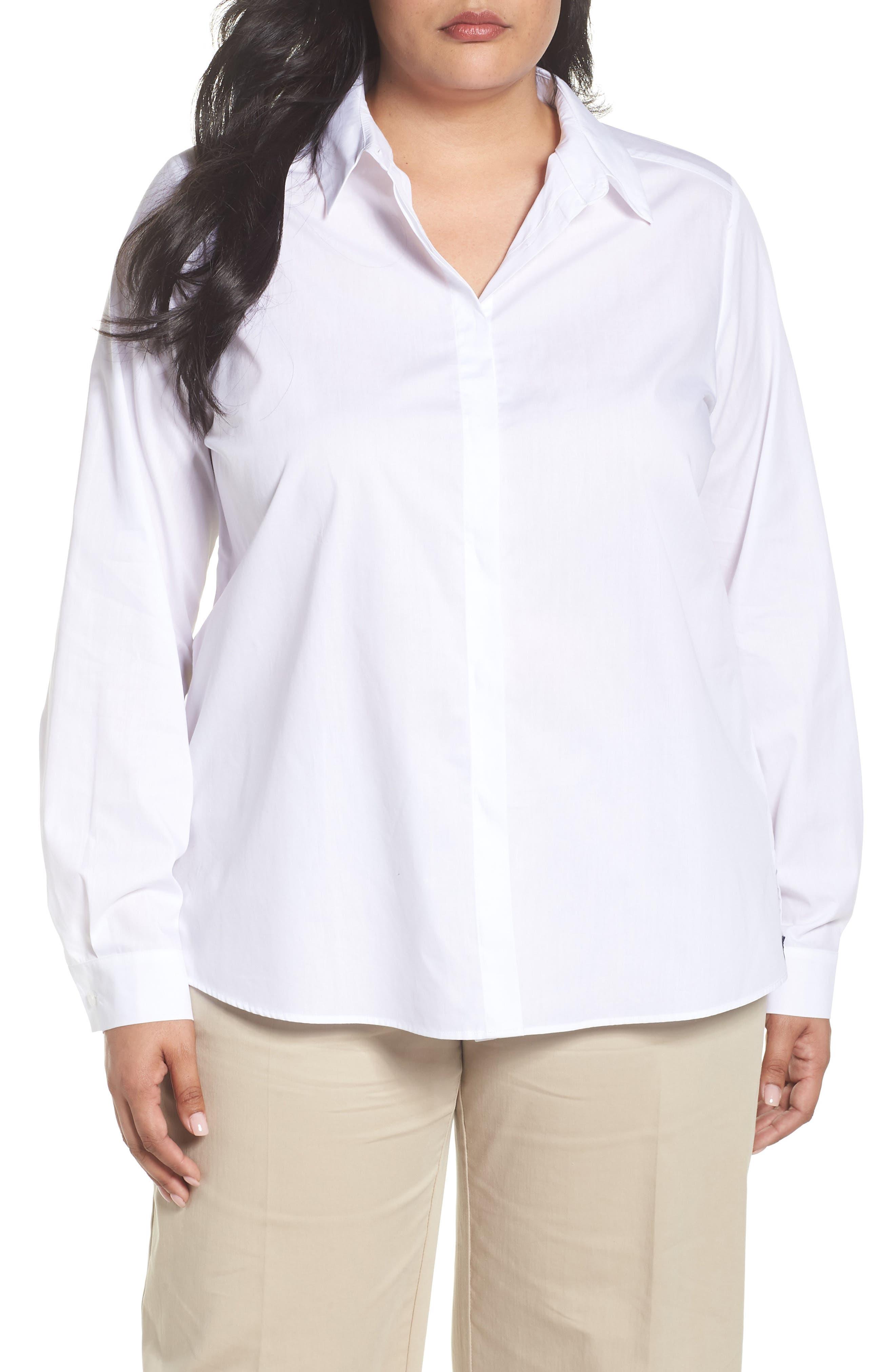 Button Front Shirt,                             Main thumbnail 1, color,                             White