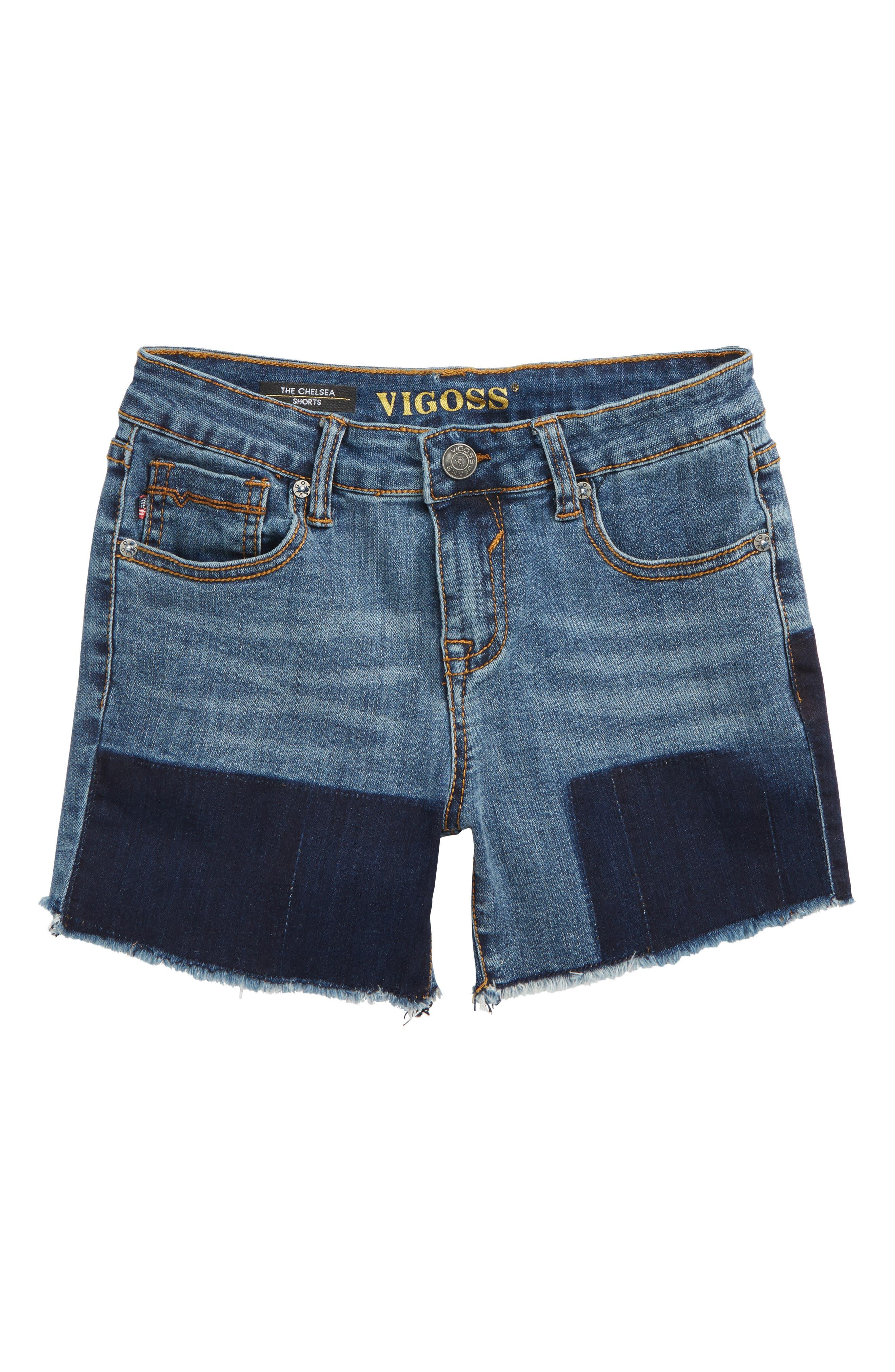 Shadow Frayed Cutoff Denim Shorts,                         Main,                         color, Twilight