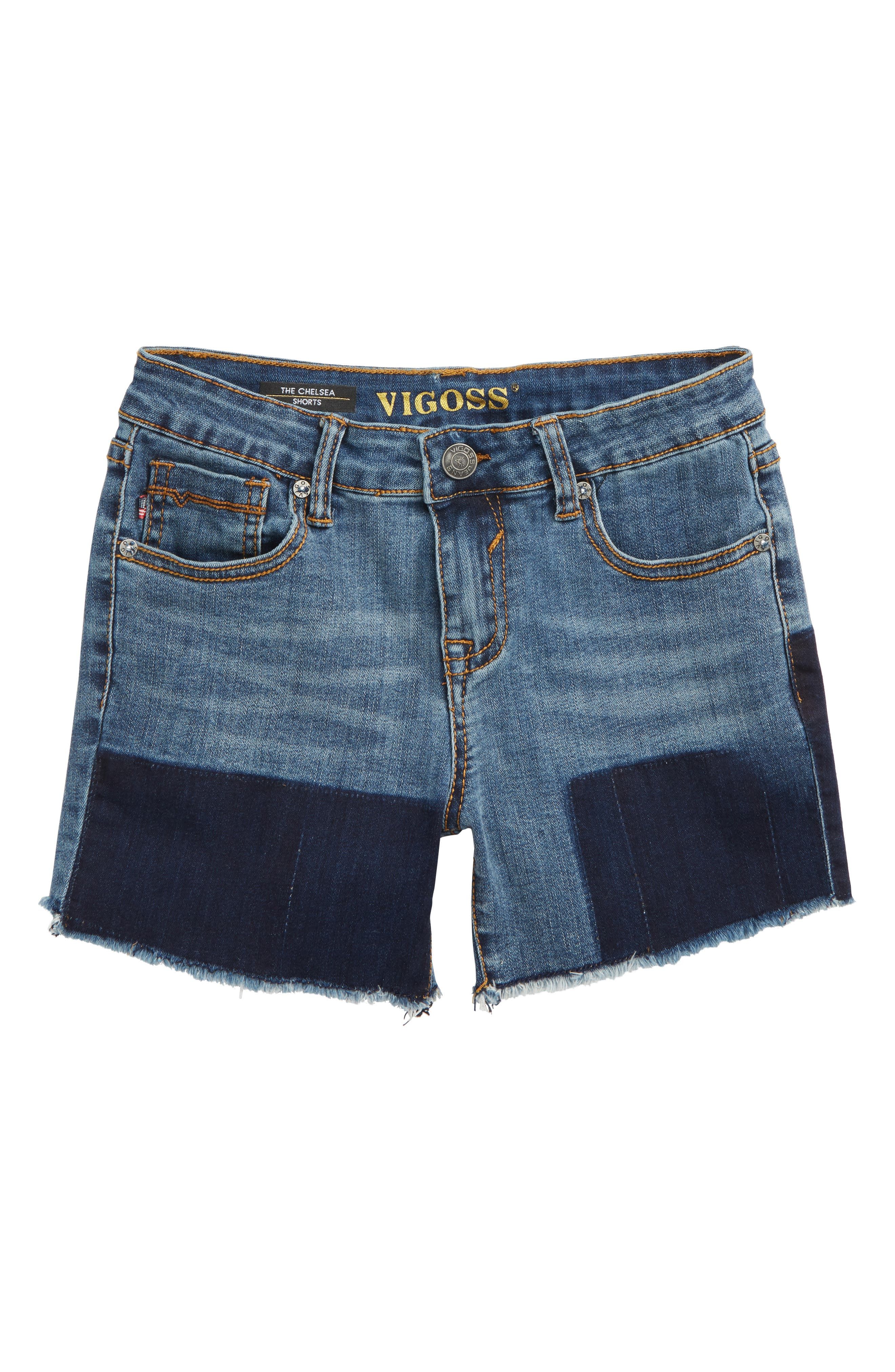 Shadow Frayed Cutoff Denim Shorts,                         Main,                         color, Twilight