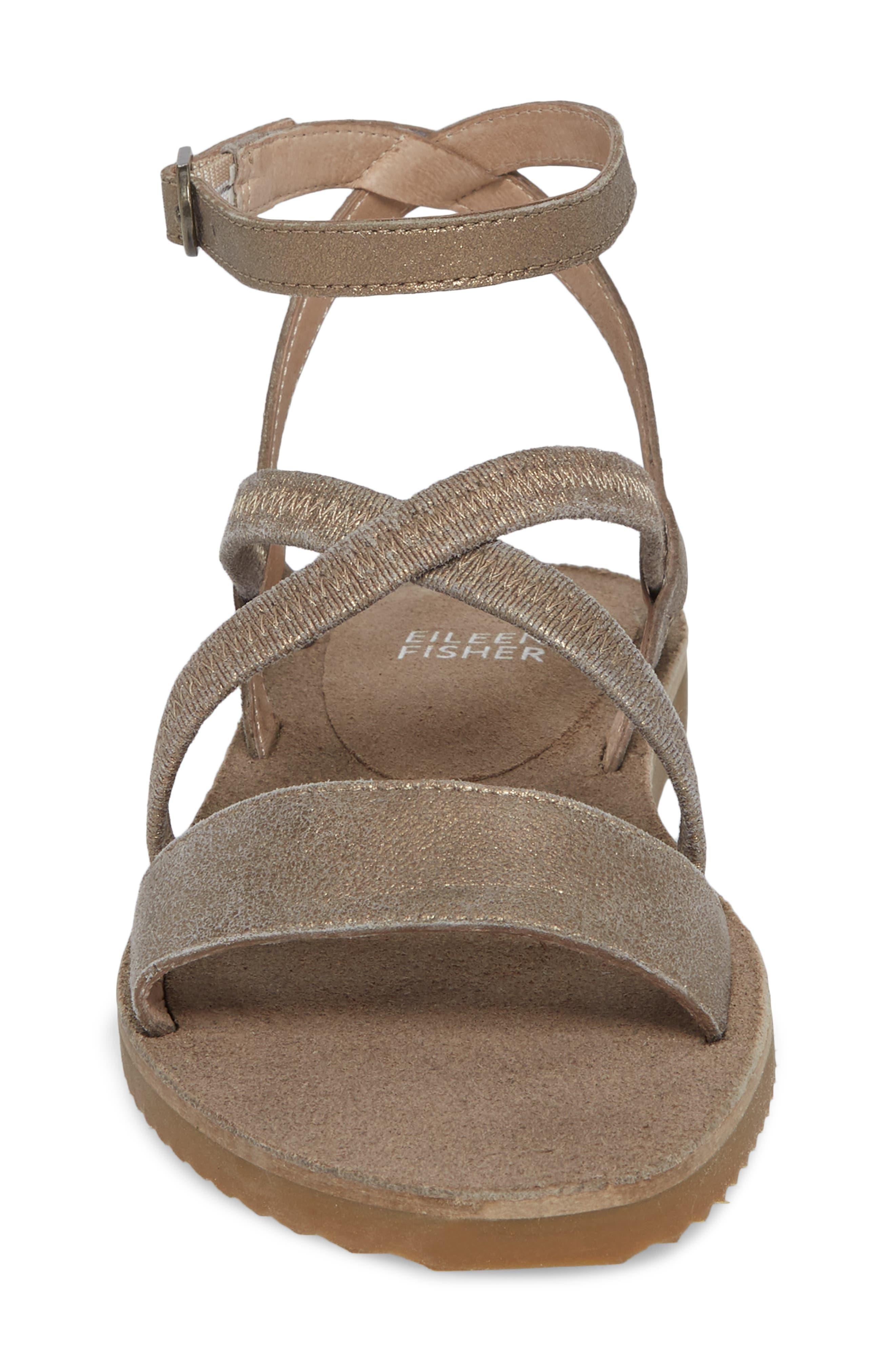 June Sandal,                             Alternate thumbnail 4, color,                             Platinum Leather