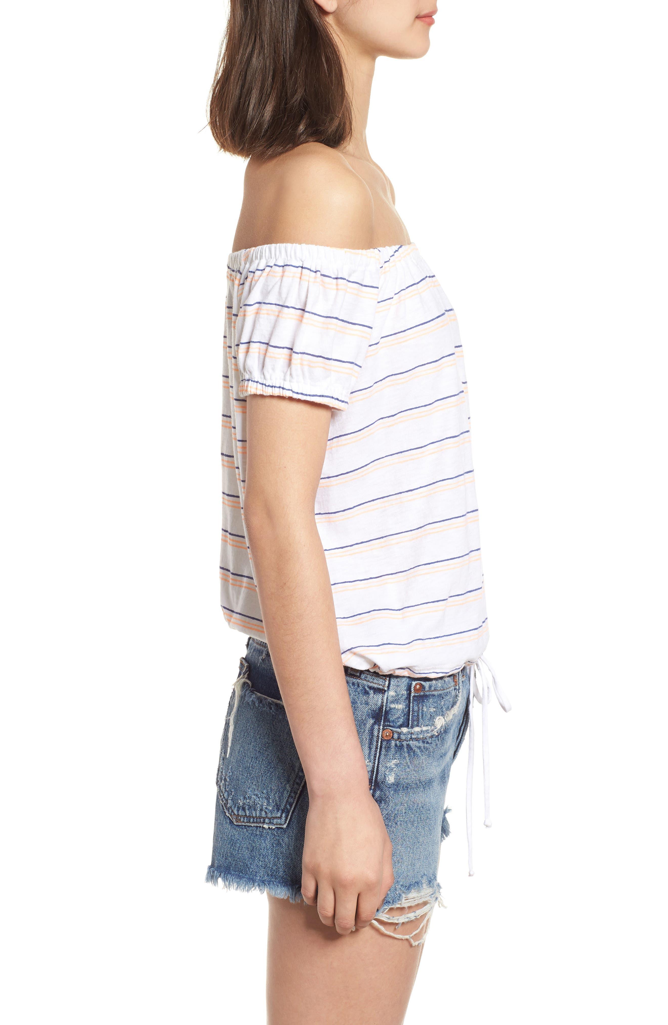 Stripe Off the Shoulder Tee,                             Alternate thumbnail 3, color,                             White