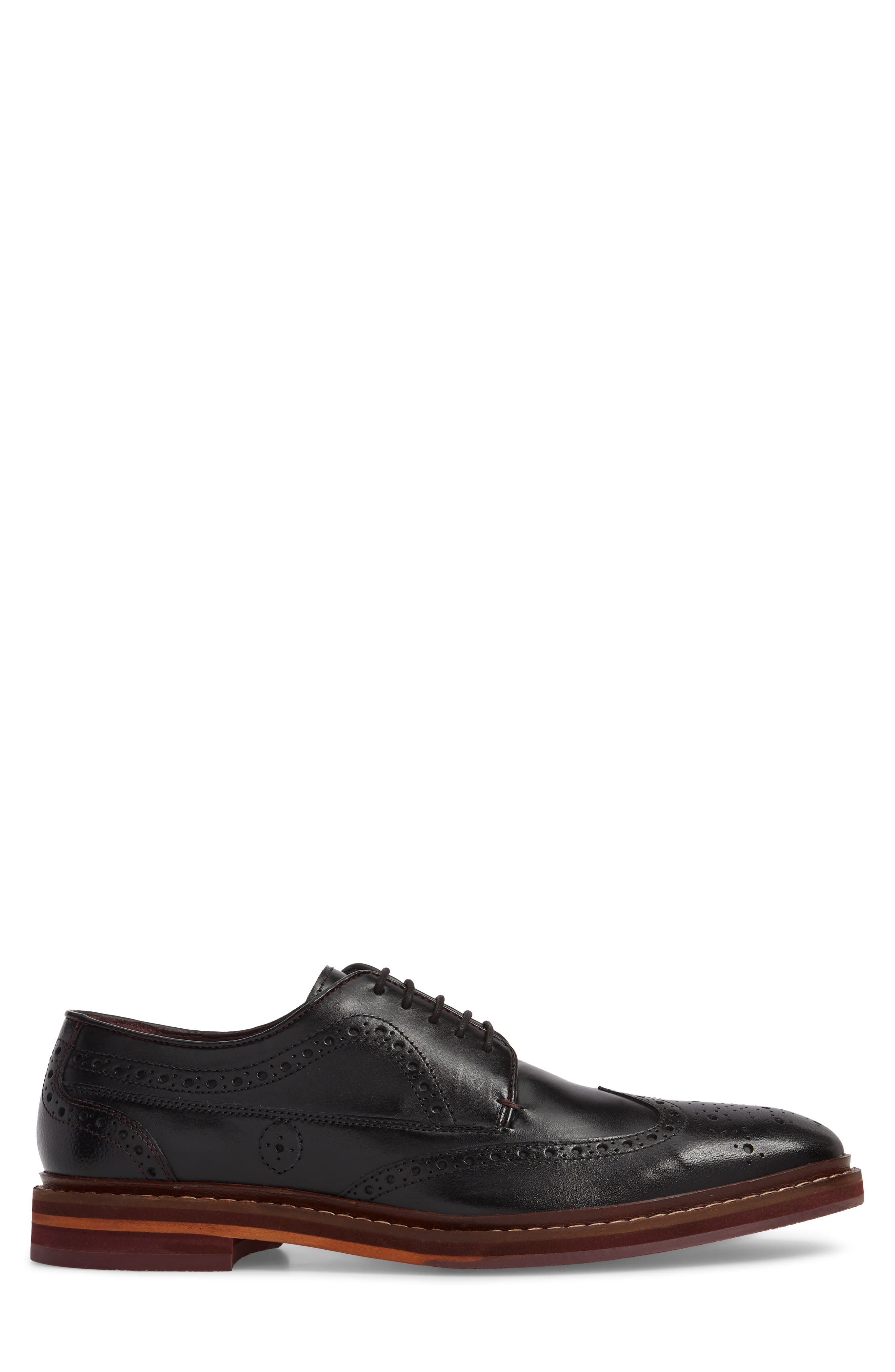 Gourdon Wingtip Derby,                             Alternate thumbnail 3, color,                             Black Leather