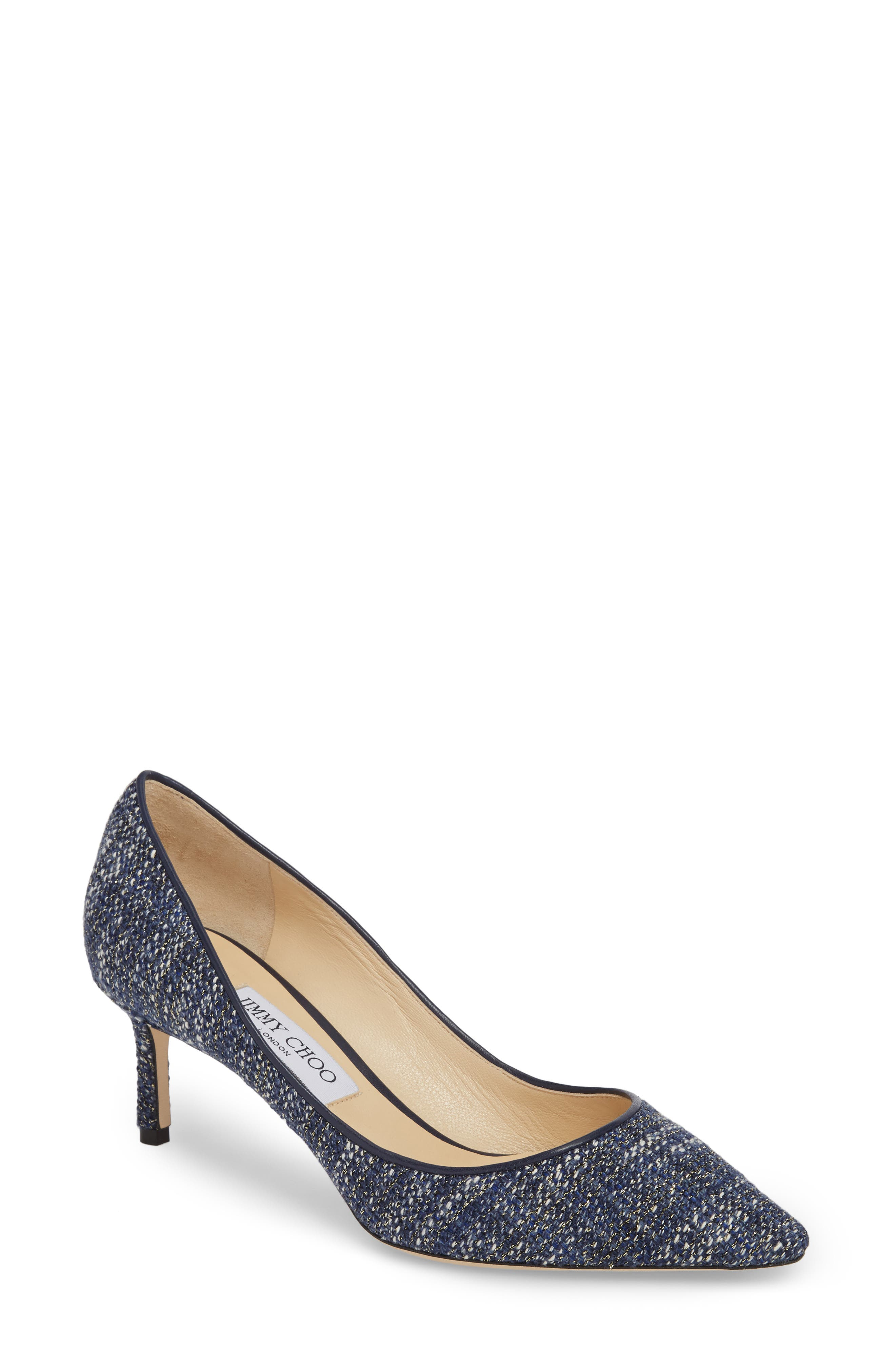 Romy Woven Pointy Toe Pump,                         Main,                         color, Navy Tweed