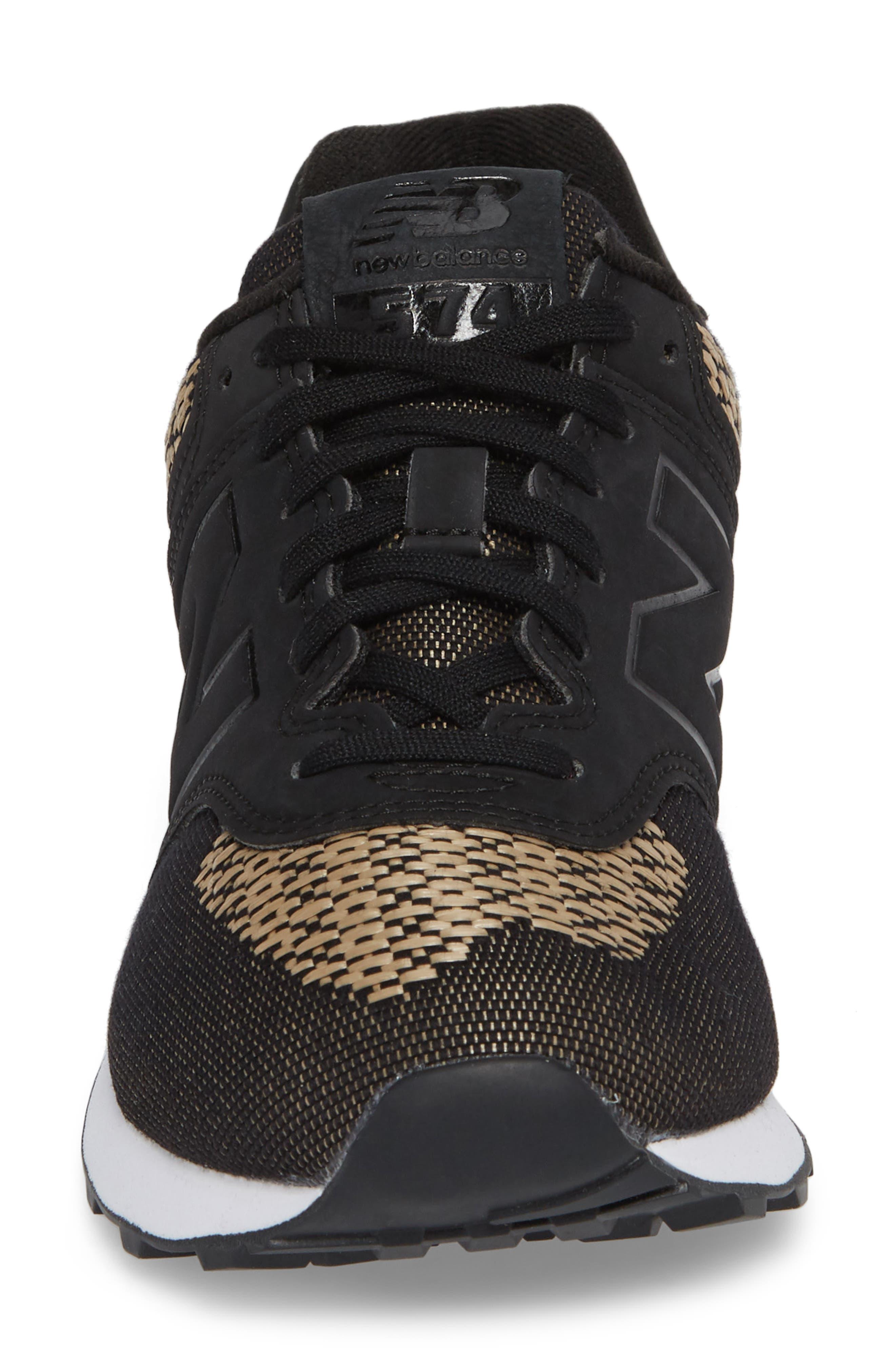 574 Tech Raffia Sneaker,                             Alternate thumbnail 4, color,                             Black