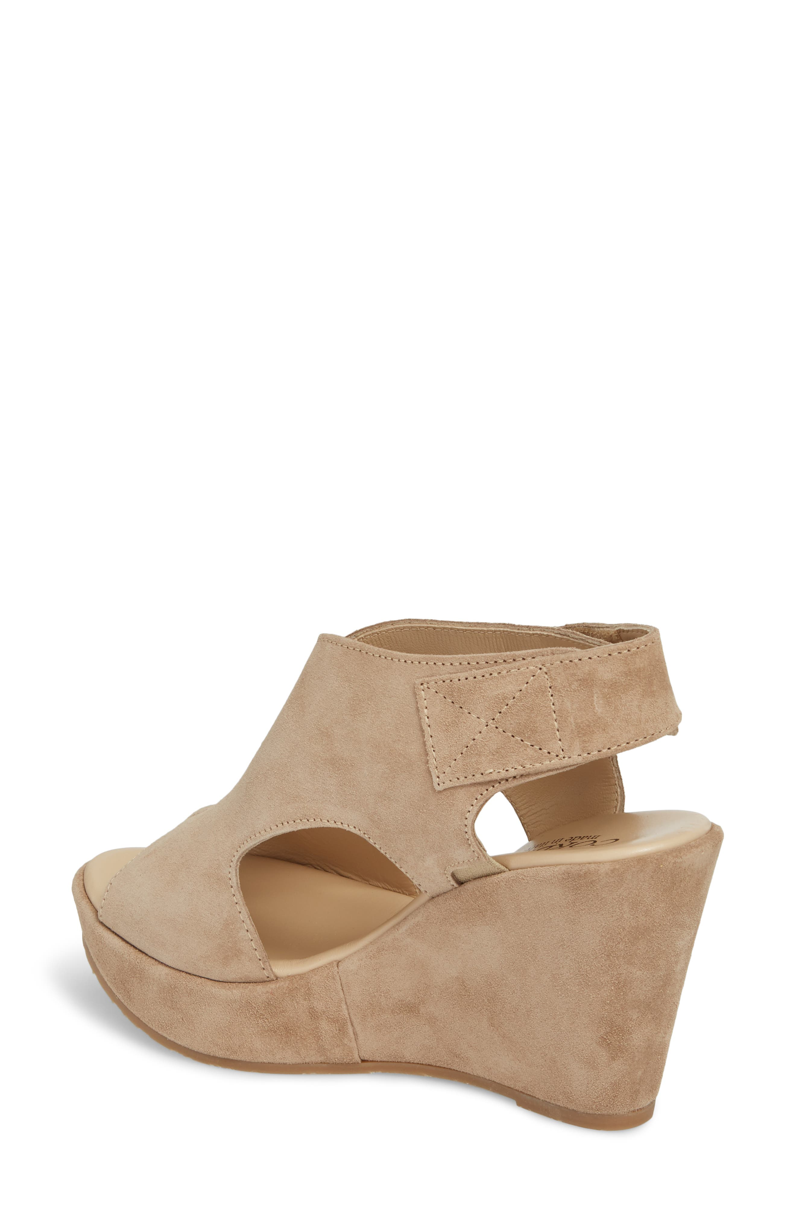 Reed Wedge Sandal,                             Alternate thumbnail 2, color,                             Corda Taupe Suede