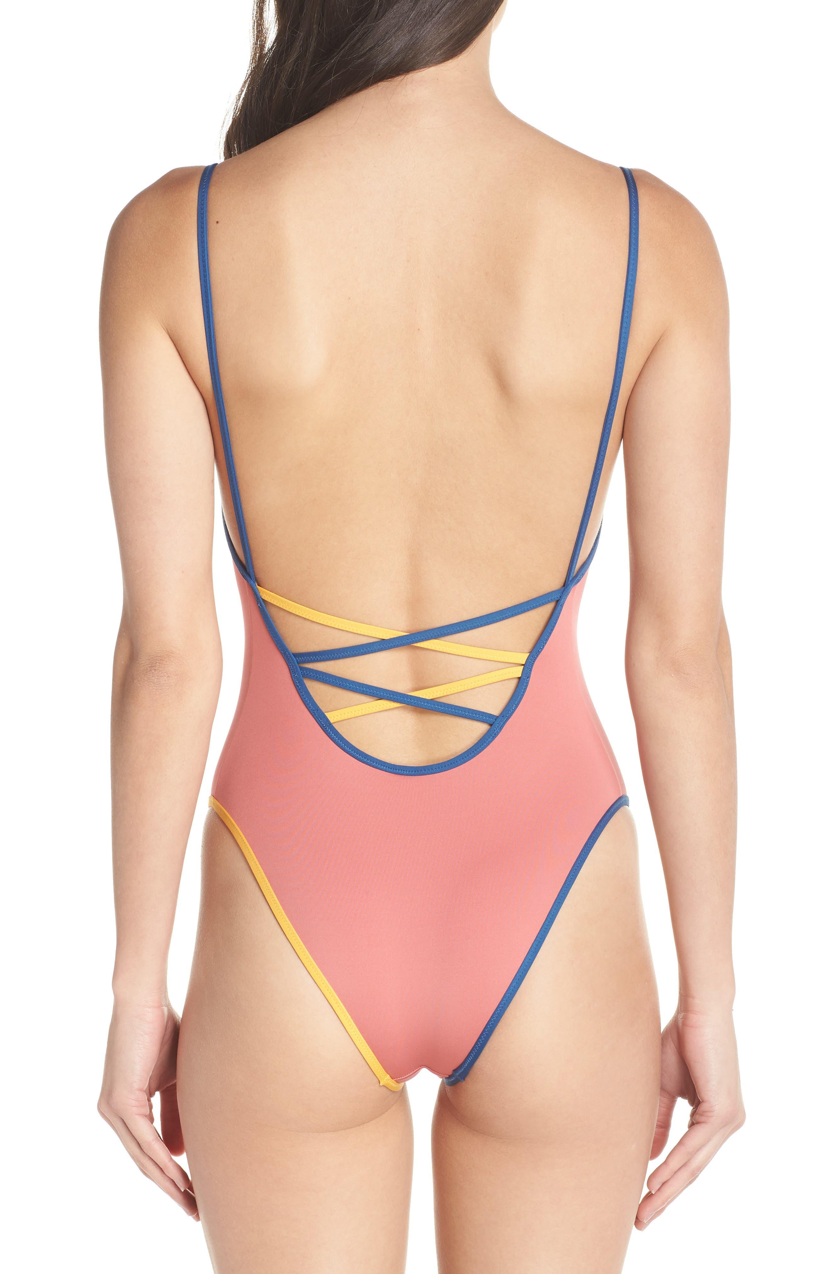 Playa Montauk Strappy One-Piece Swimsuit,                             Alternate thumbnail 2, color,                             Vintage Pink Multi