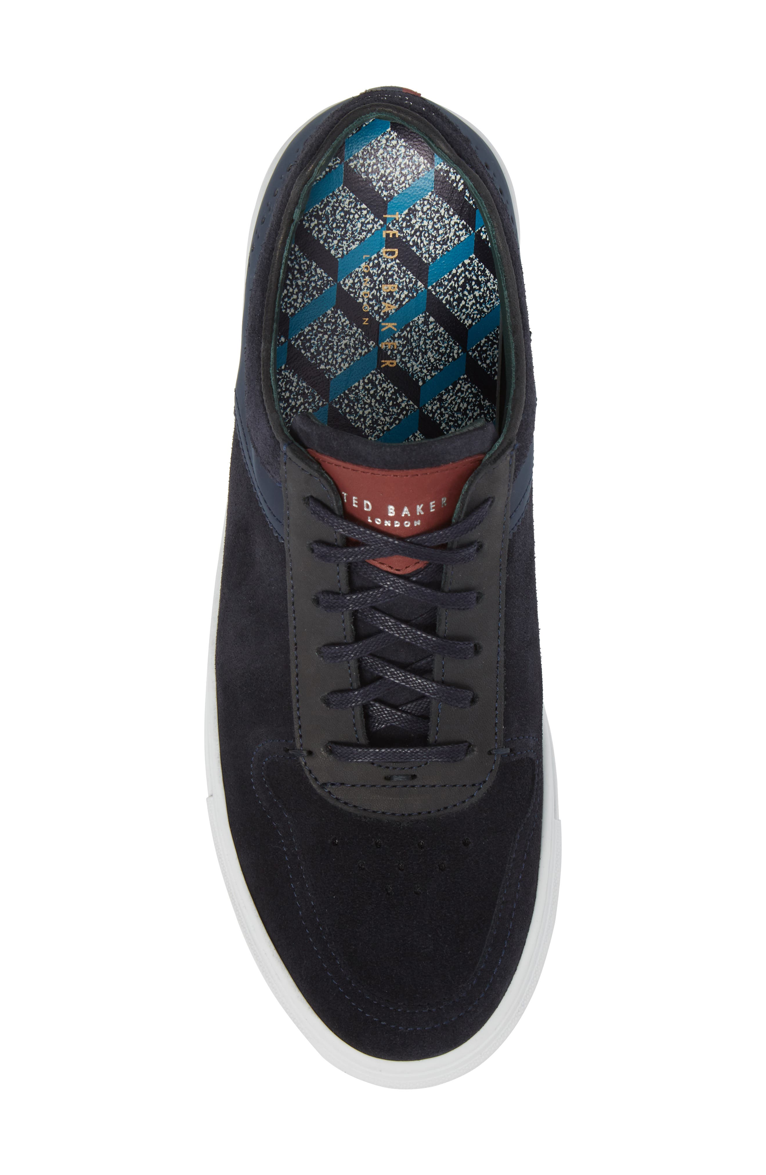 Burall Sneaker,                             Alternate thumbnail 5, color,                             Dark Blue Suede/ Textile
