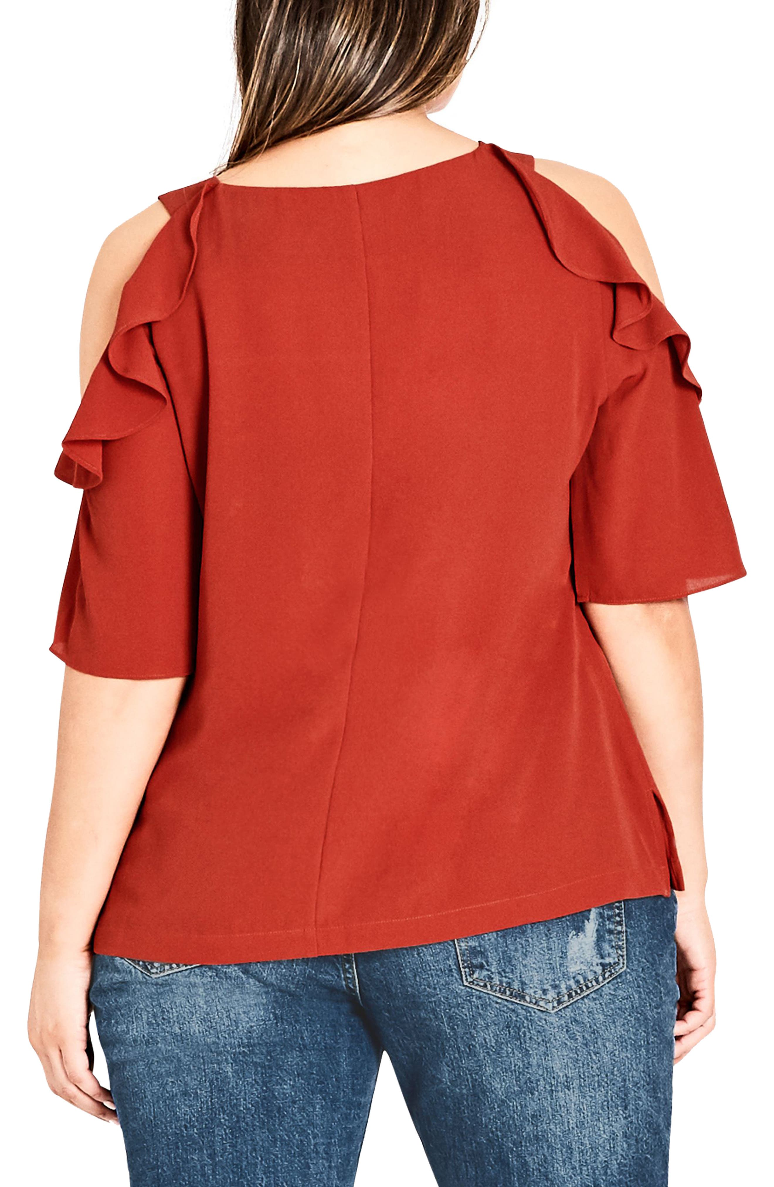 Alternate Image 2  - City Chic Wild Sleeve Cold Shoulder Top (Plus Size)