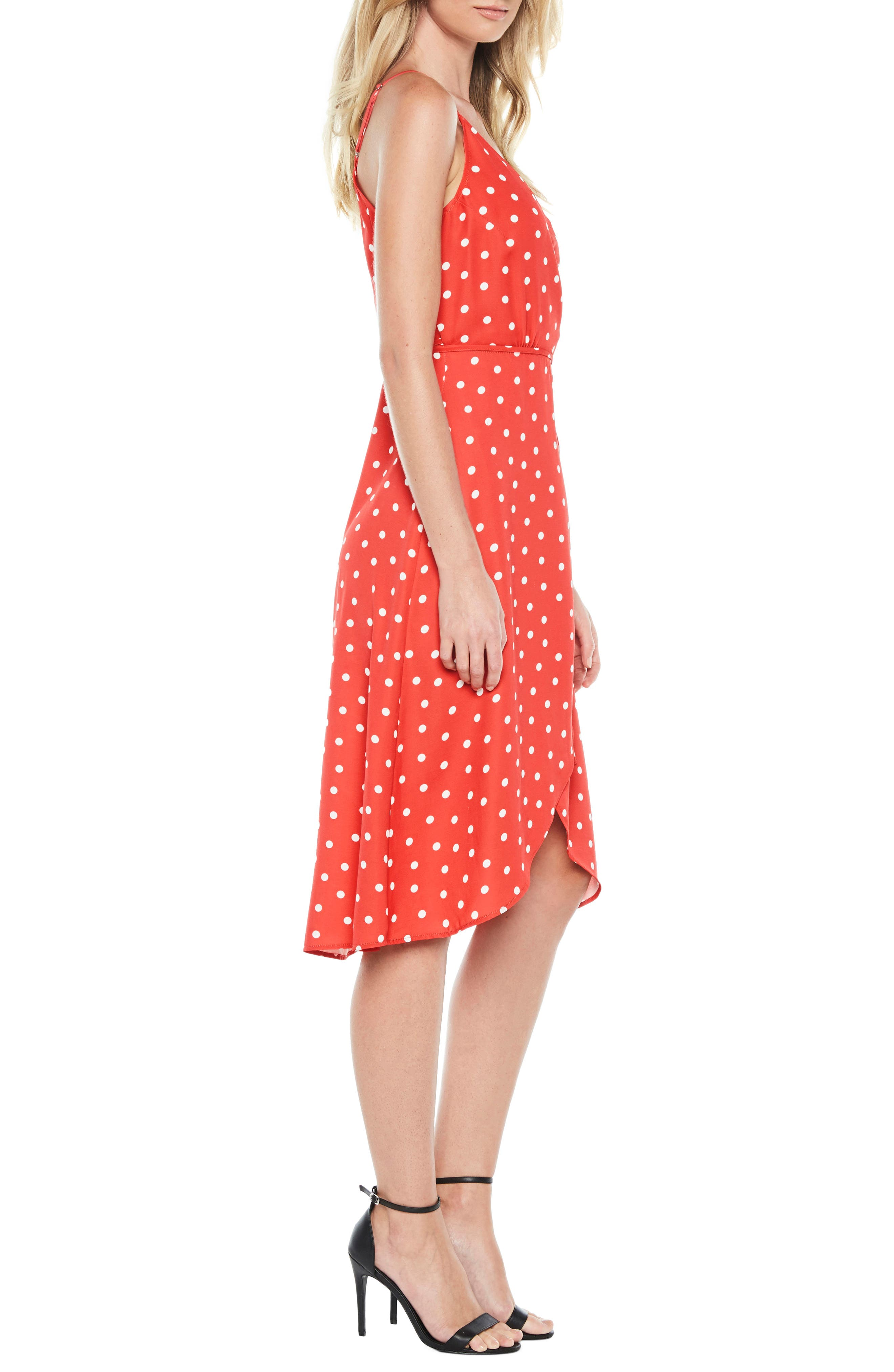 Dotted Wrap Dress,                             Alternate thumbnail 4, color,                             Red Spot