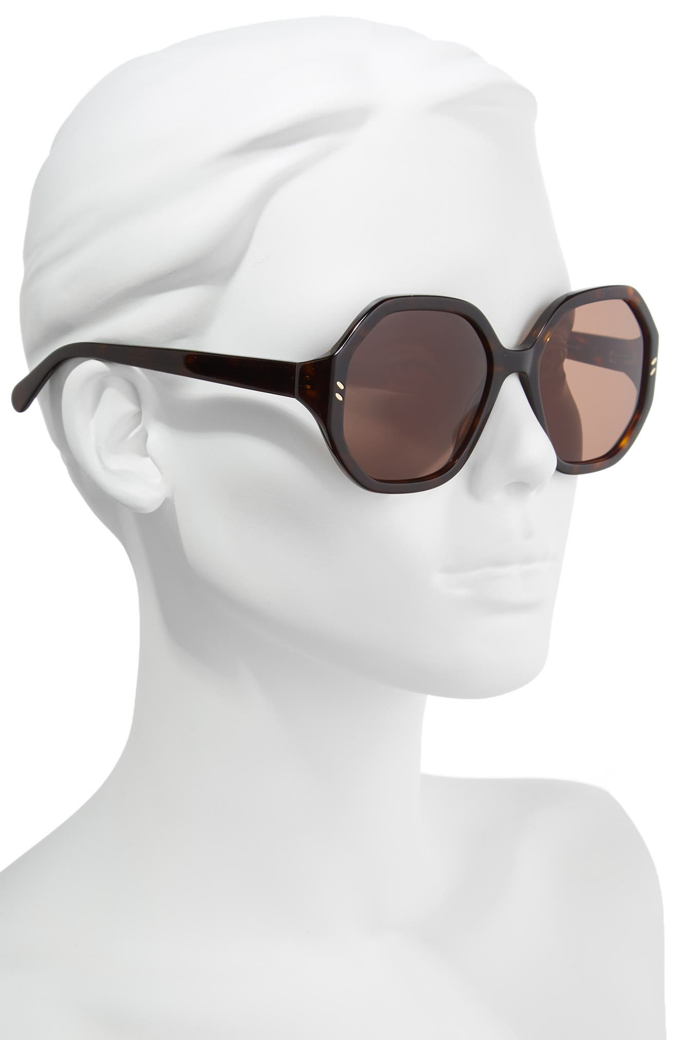 56mm Hexagonal Sunglasses,                             Alternate thumbnail 2, color,                             Dark Havana