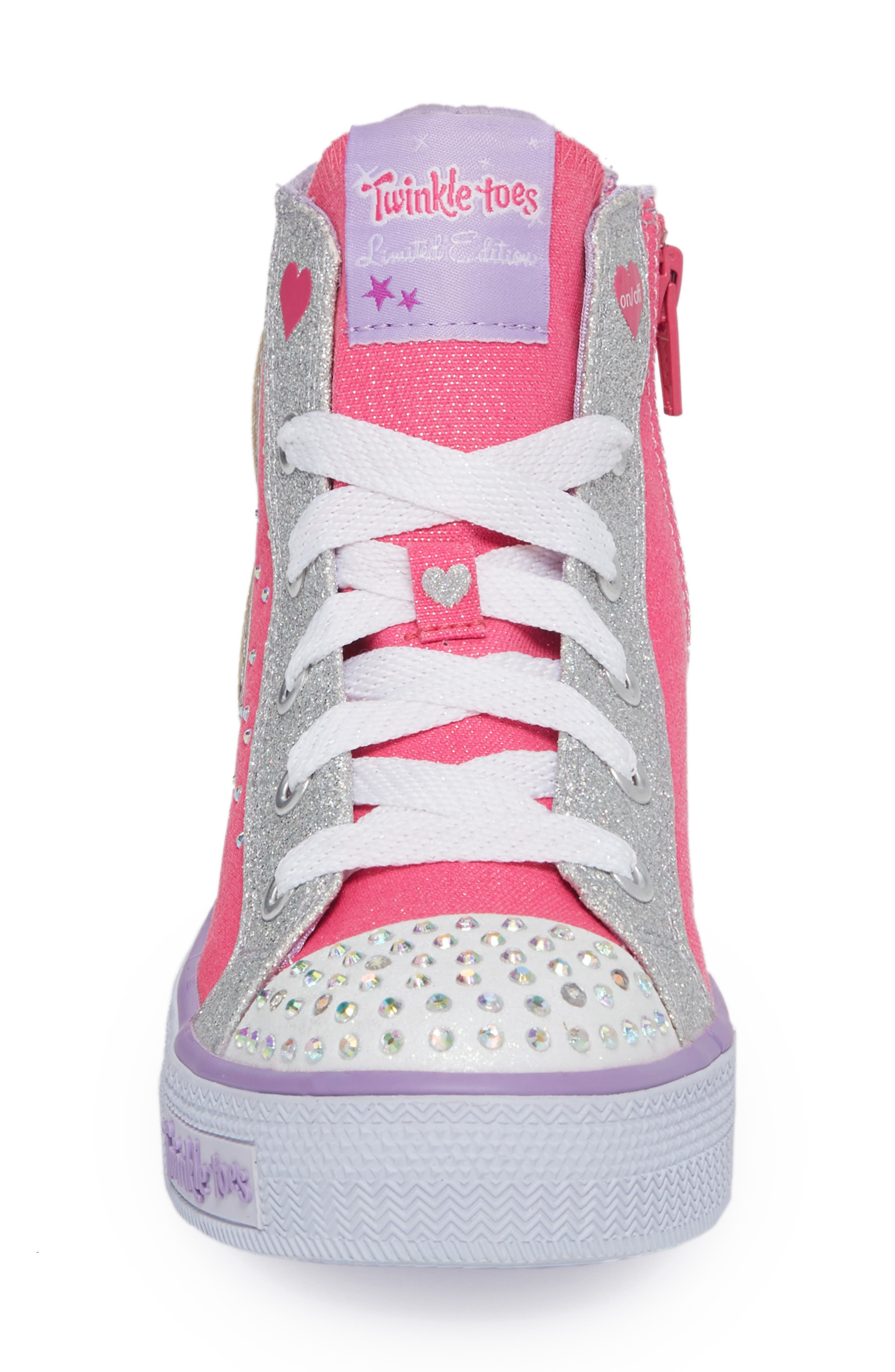 Twinkle Toes Shuffles Wonder Wings Light-Up High Top Sneaker,                             Alternate thumbnail 4, color,                             Hot Pink/ Silver