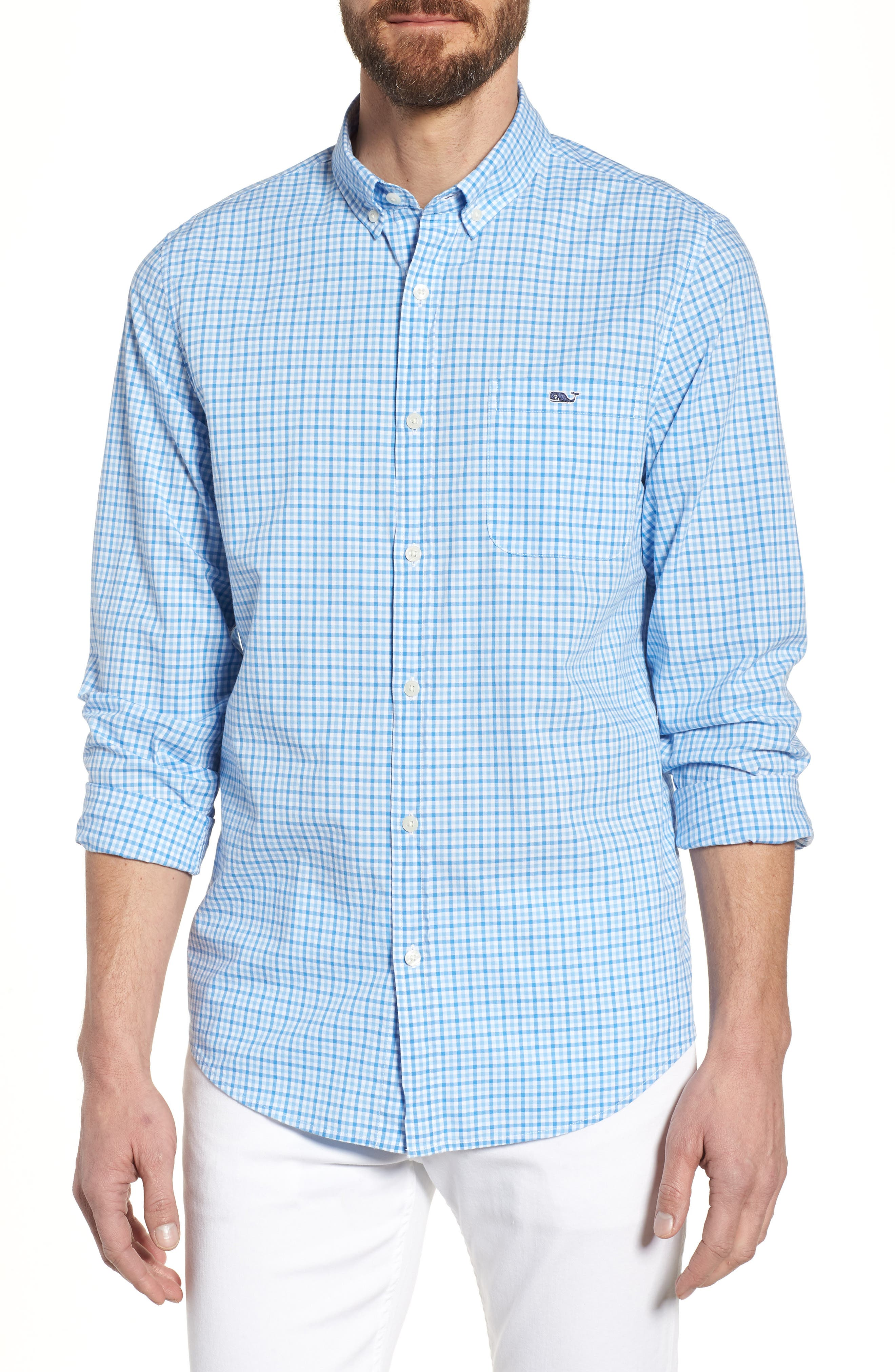 Tipsy Turtle Check Slim Fit Sport Shirt,                         Main,                         color, Harbor Cay