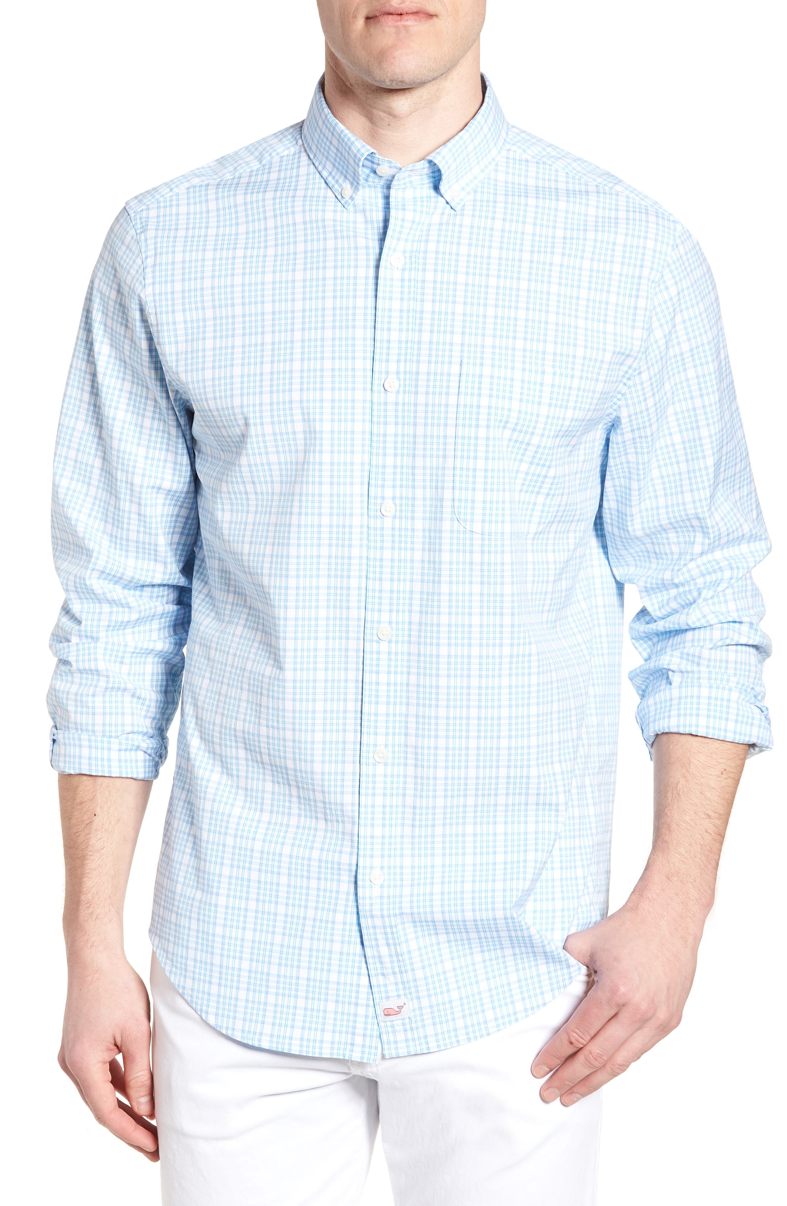 The Point House Classic Fit Stretch Plaid Sport Shirt,                         Main,                         color, Sea Splash