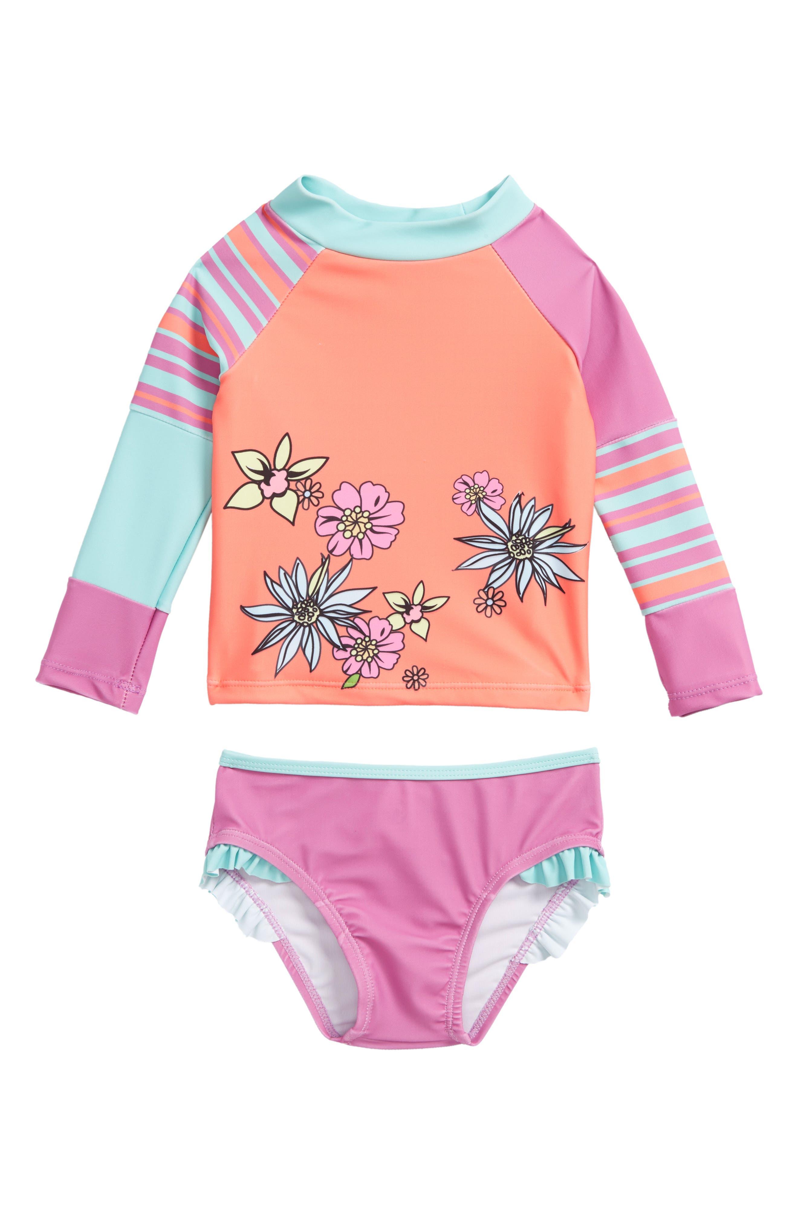 Two-Piece Rashguard Swimsuit,                         Main,                         color, Orange
