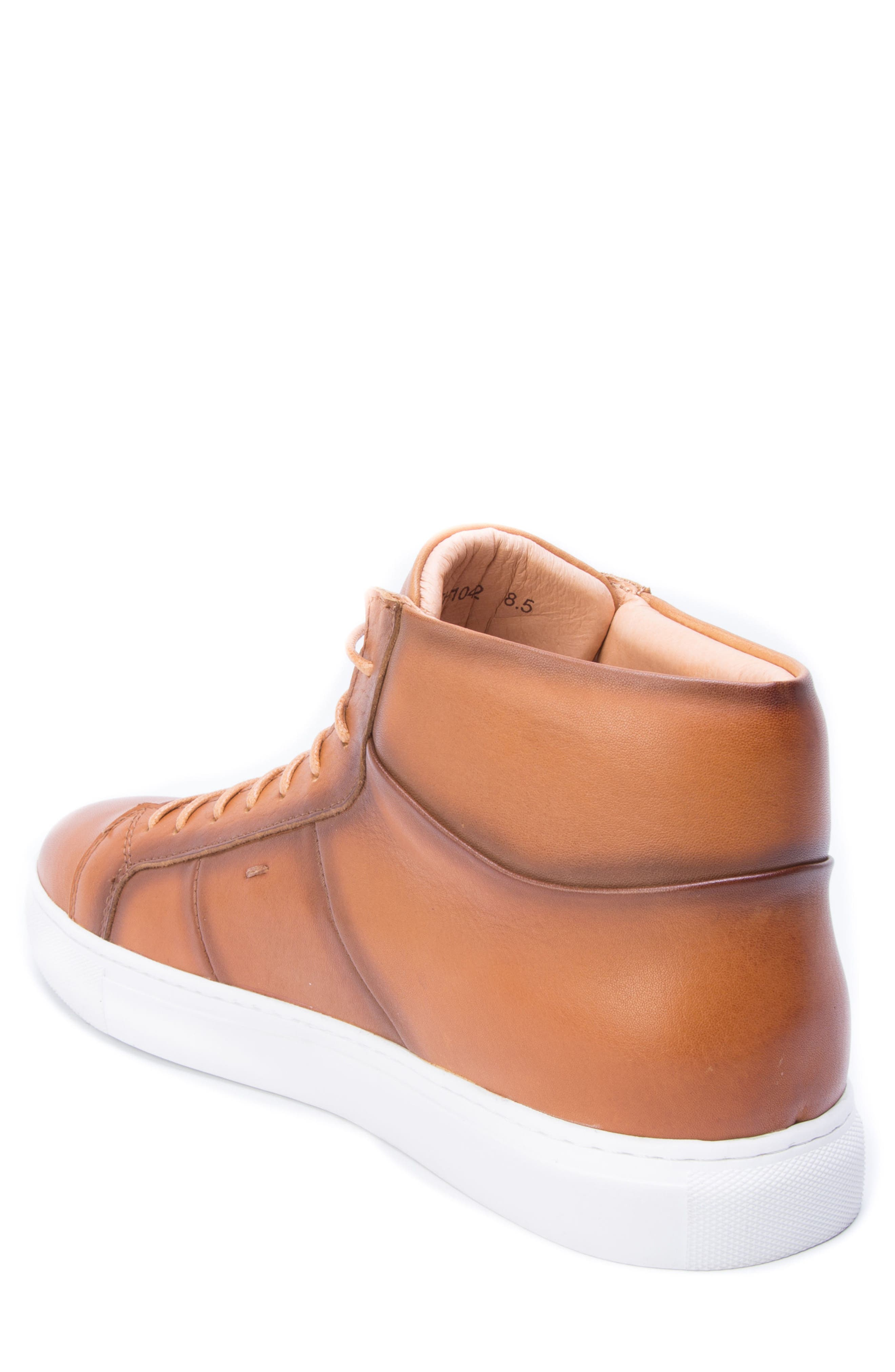 Phaser High Top Sneaker,                             Alternate thumbnail 2, color,                             Cognac Leather