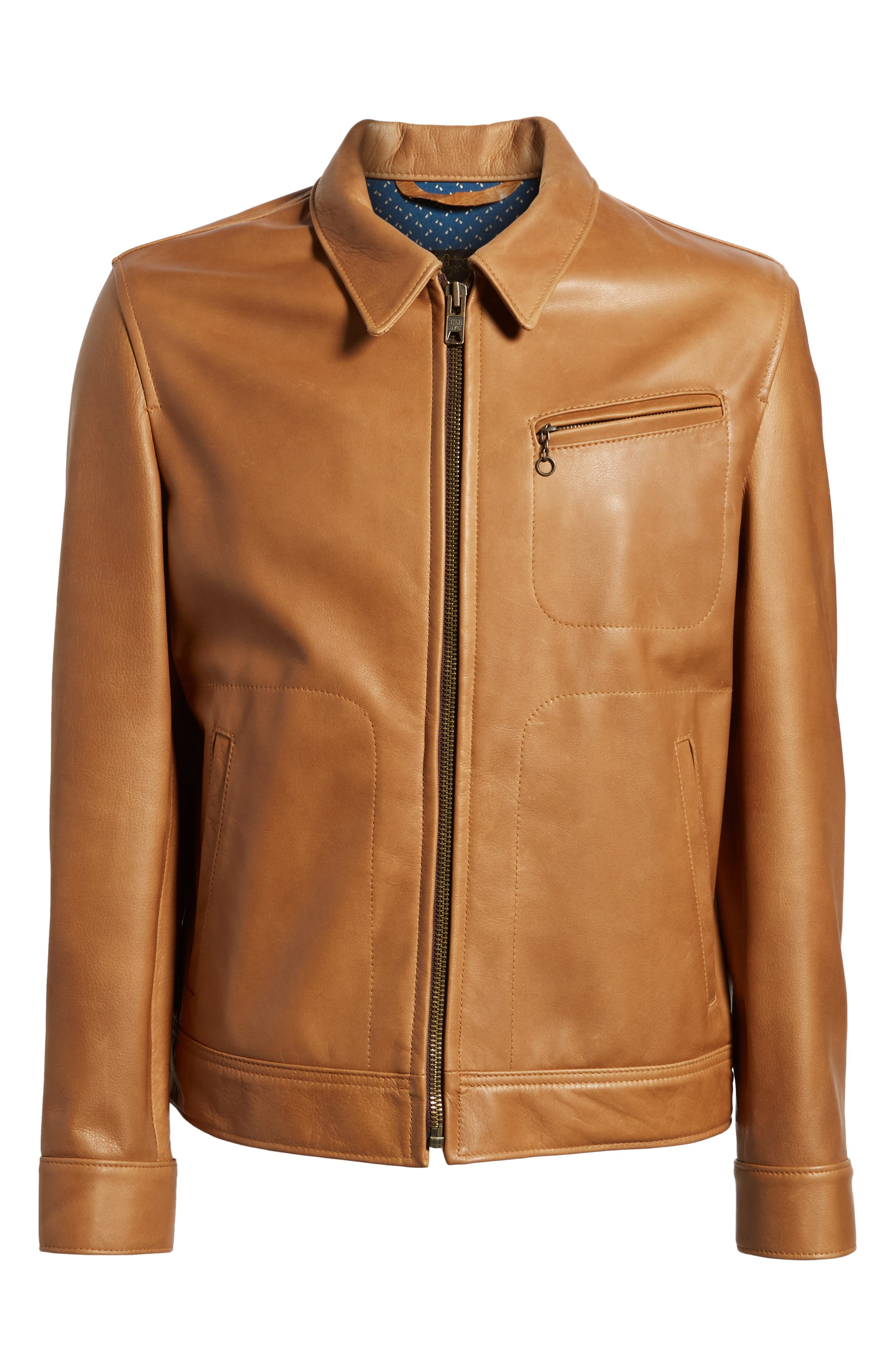 Waxy Leather Jacket,                             Alternate thumbnail 6, color,                             Rust